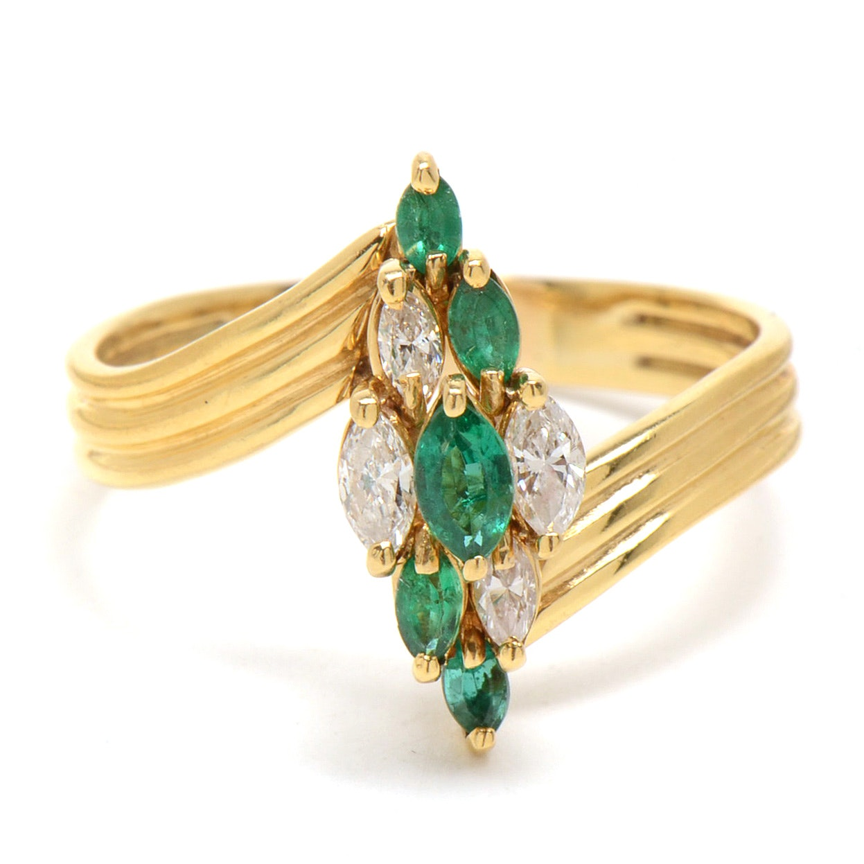 18K Yellow Gold Natural Emerald and Diamond Cluster Ring
