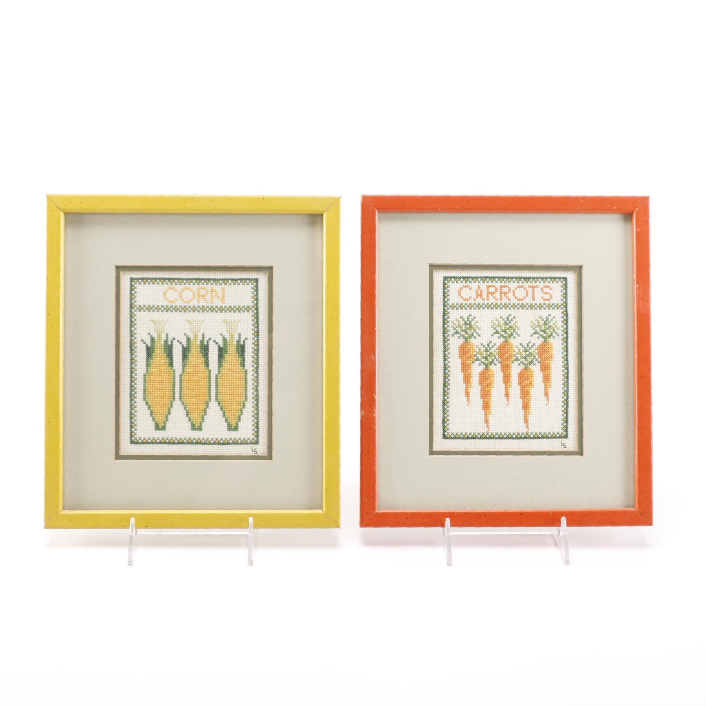 Carrots and Corn Cross Stitch Pieces