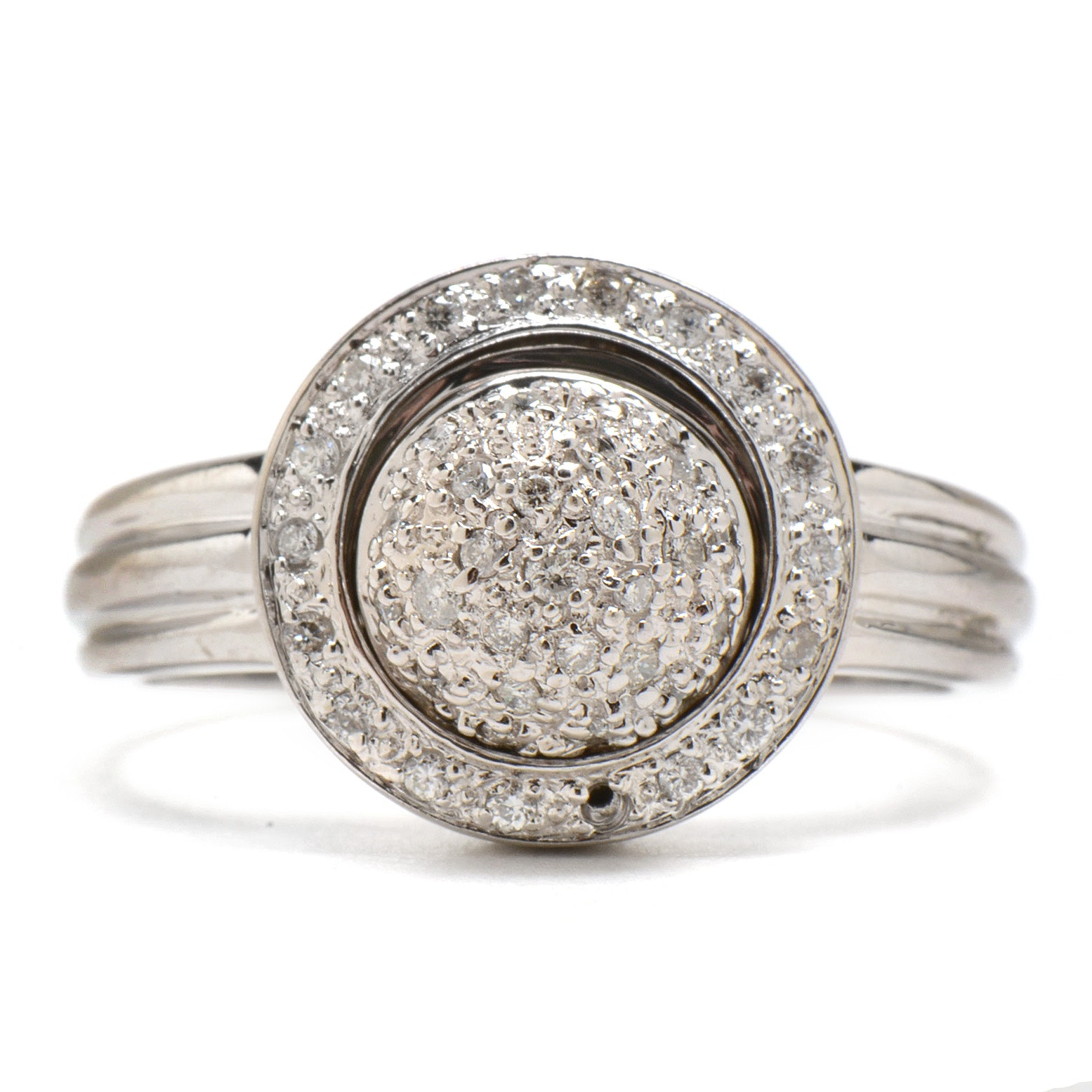 Contemporary 18K White Gold Articulating Diamond Ring