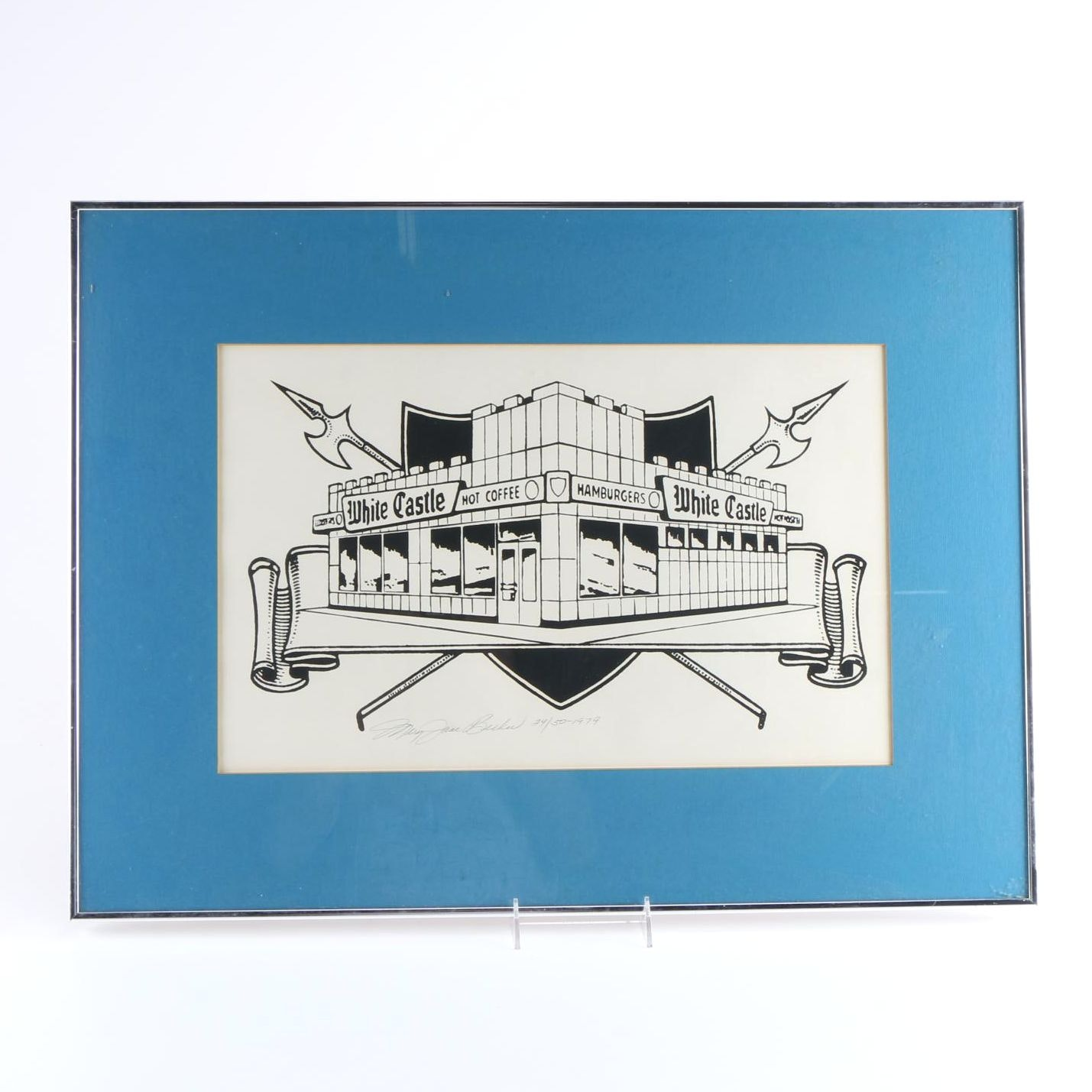 Mary Jane Becker Limited Edition Serigraph of White Castle