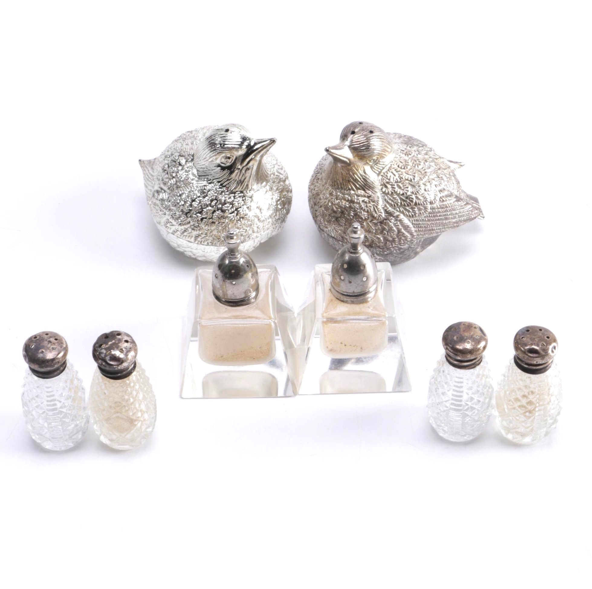 Salt and Pepper Shakers With Sterling Silver Caps