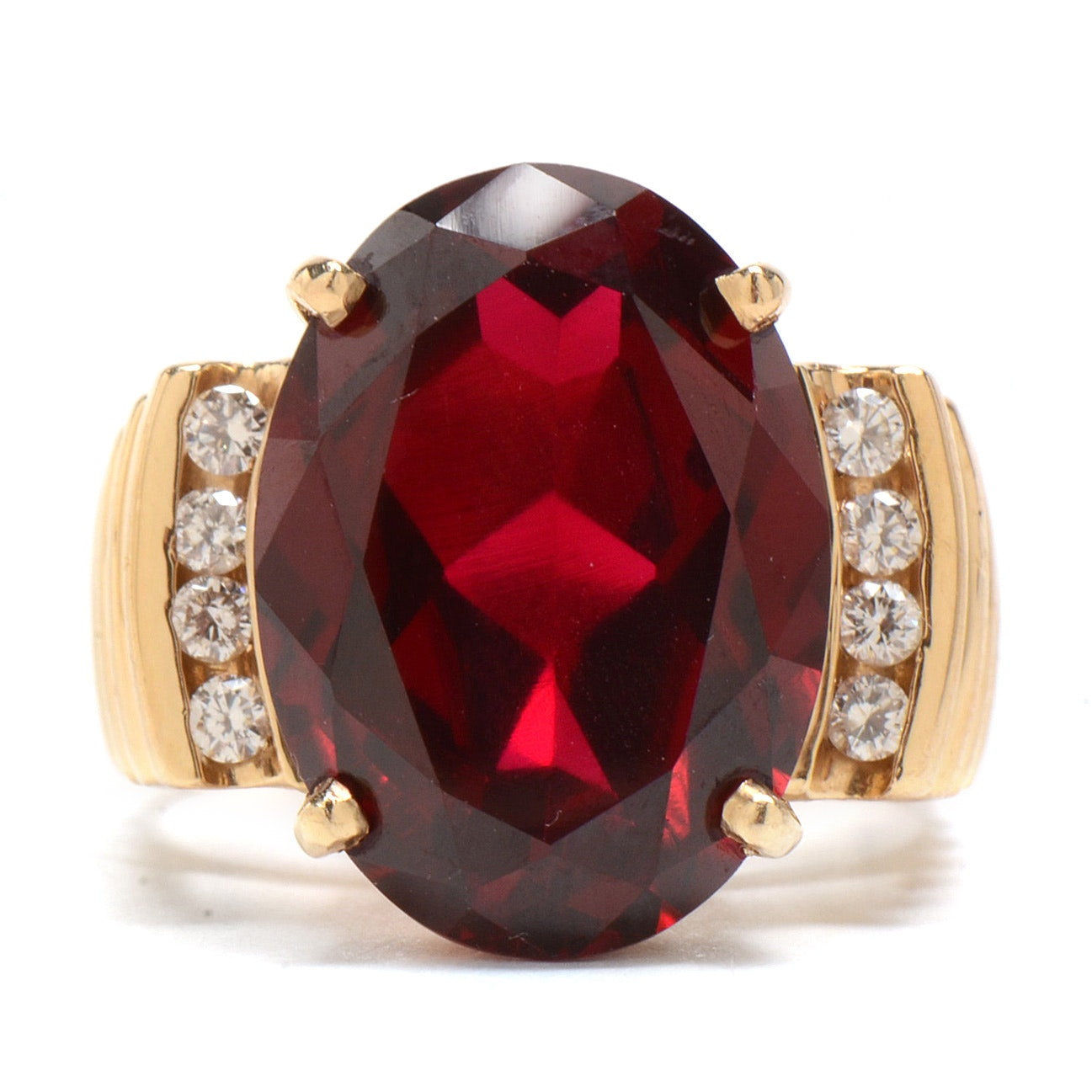 14K Yellow Gold Synthetic Ruby and Diamond Statement Ring