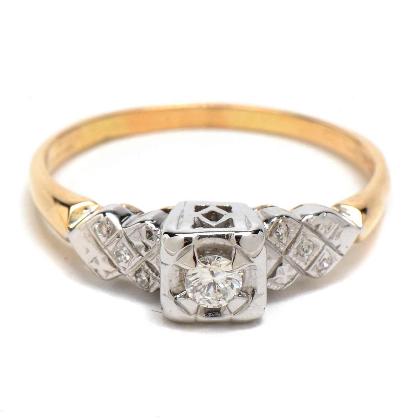 14K Two Tone Gold and Diamond Ring