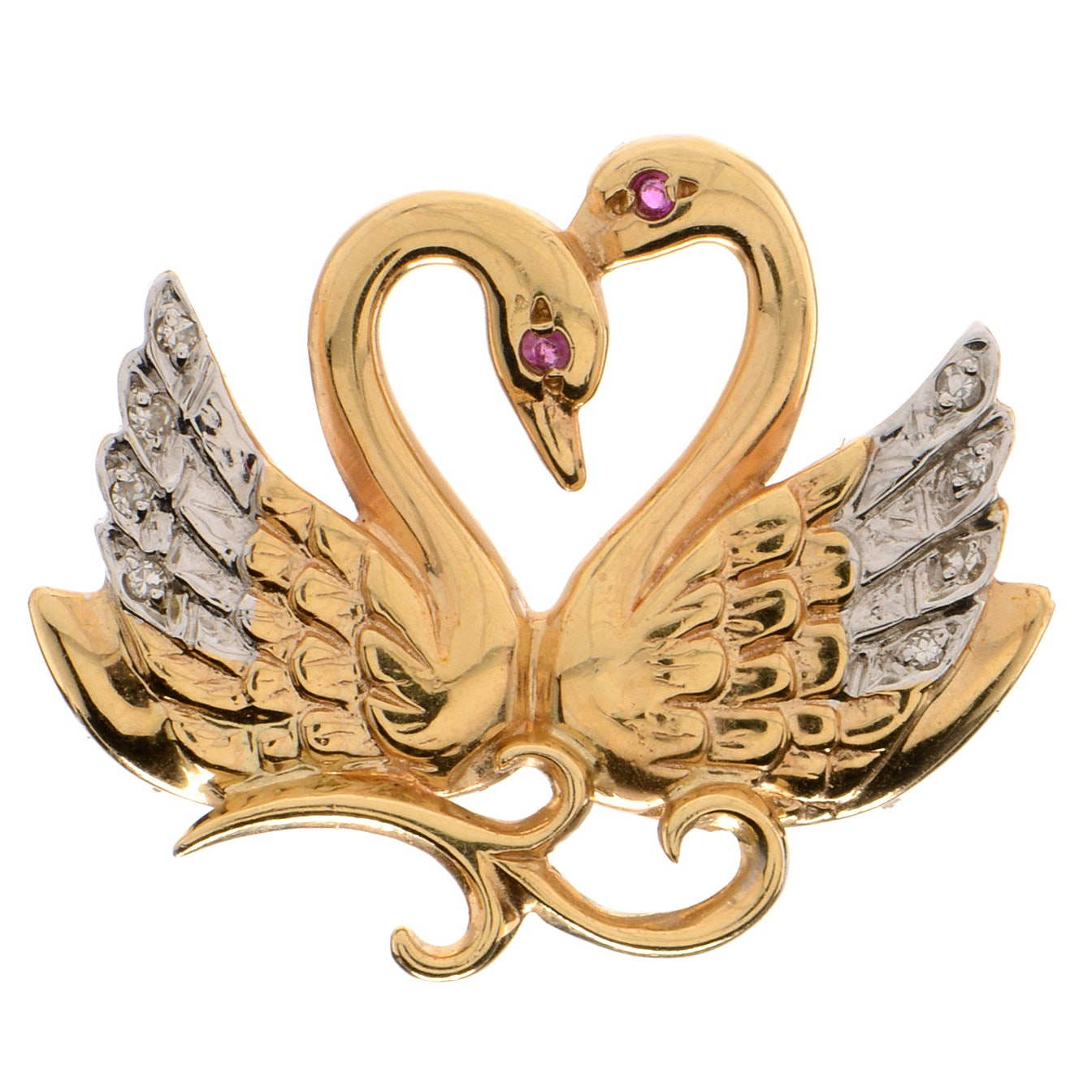 14K Yellow Gold and Diamond Swan Brooch
