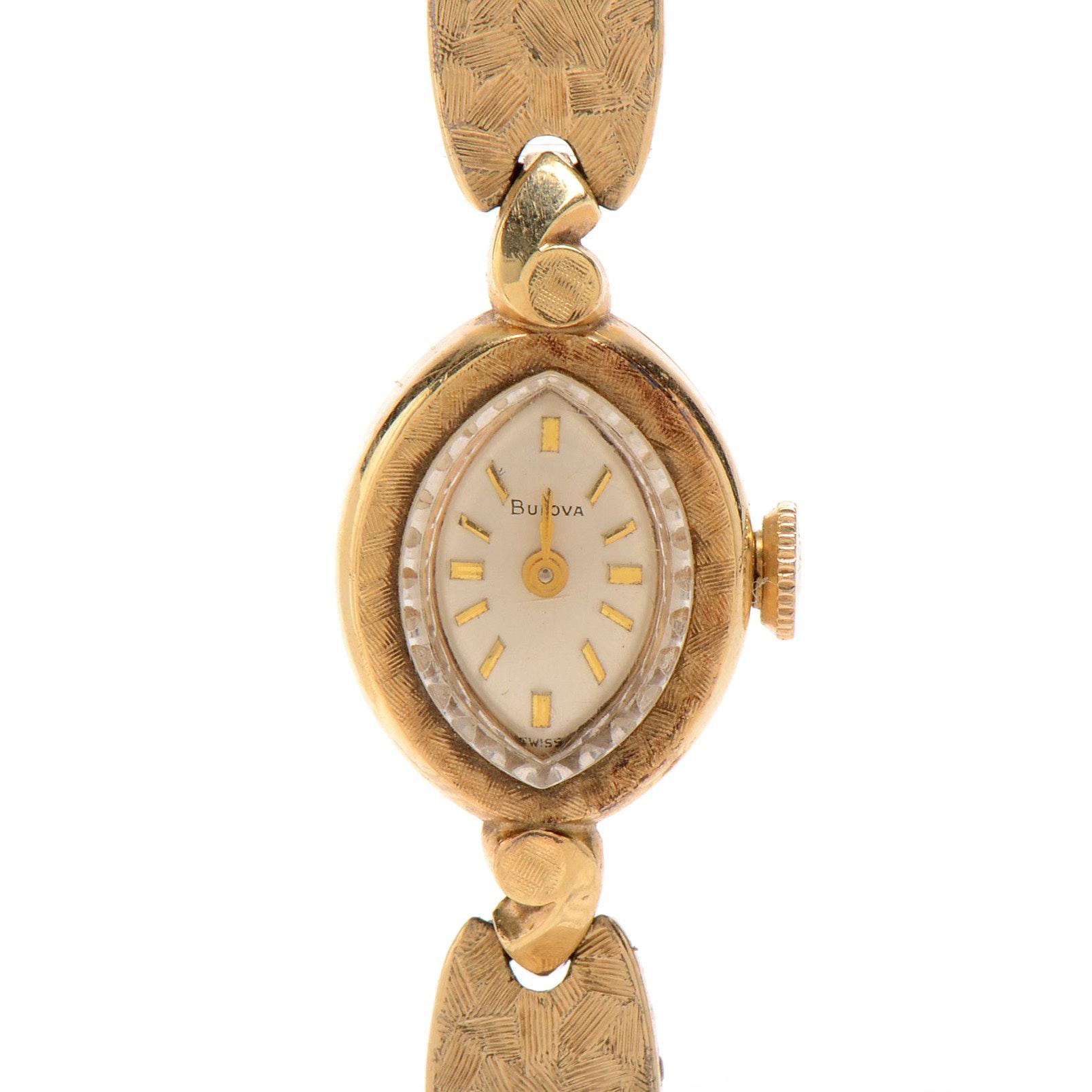 Vintage Bulova 14K Yellow Gold Women's Wristwatch