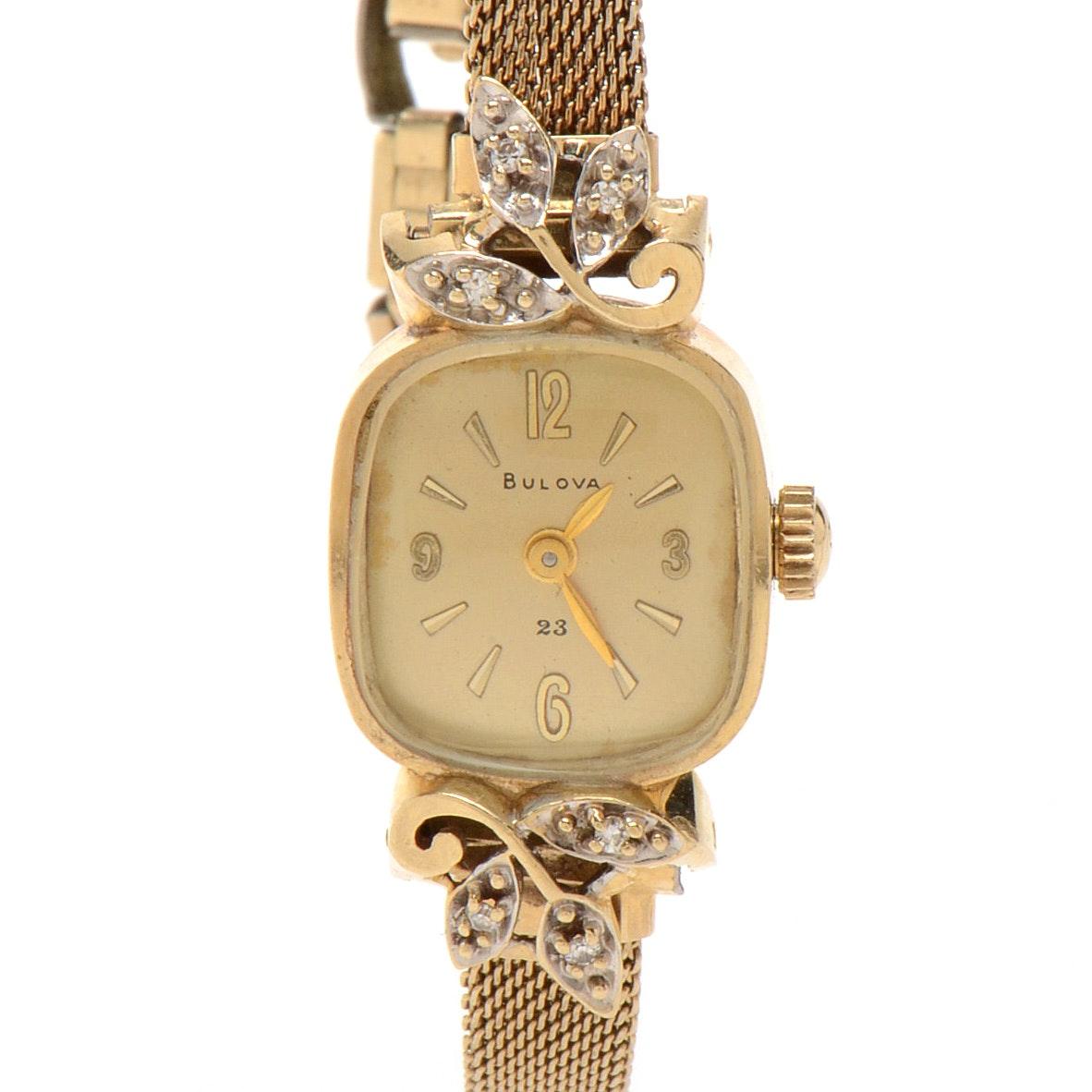 Women's Vintage Bulova 14K Yellow Gold Diamond Wristwatch