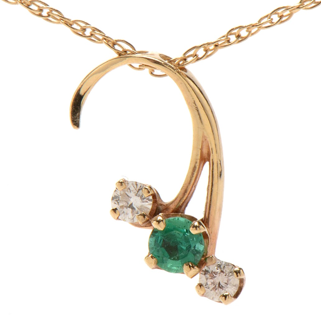 14K Yellow Gold Diamond and Emerald Necklace