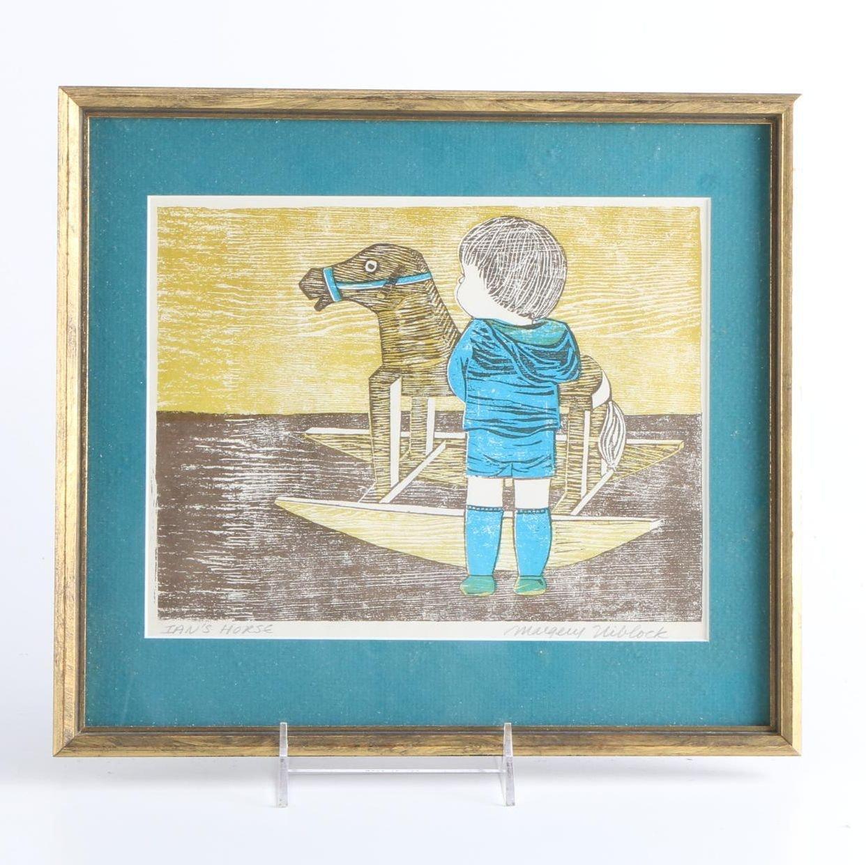 "Margery Niblock Woodblock Print ""Ian's Horse"""