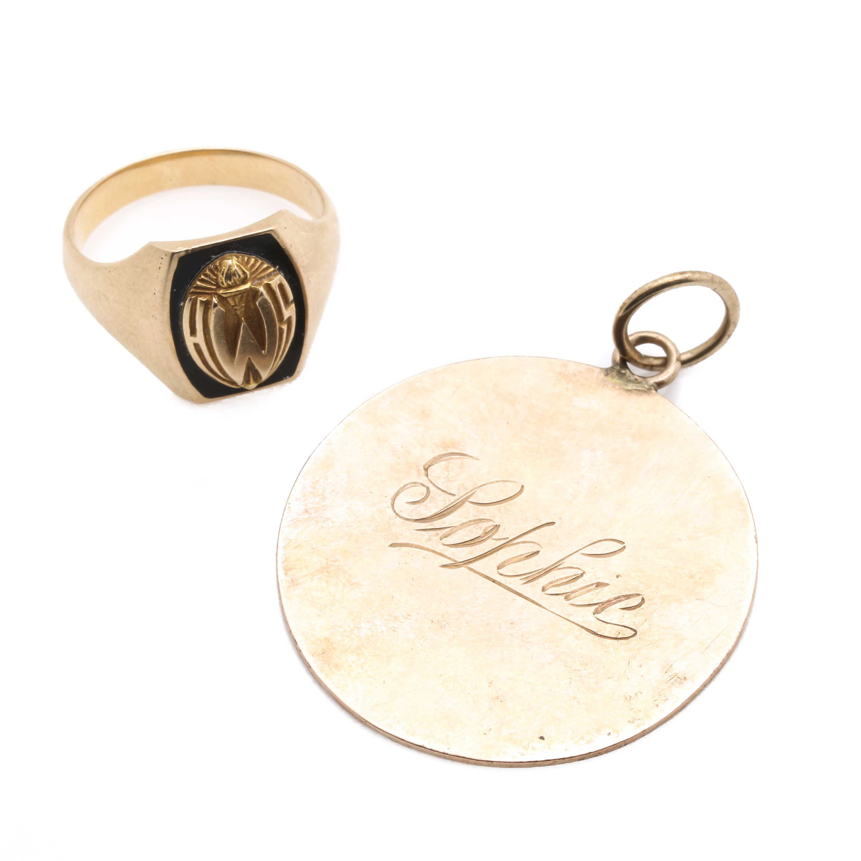 14K Yellow Gold Ring and Pendant for Scrap