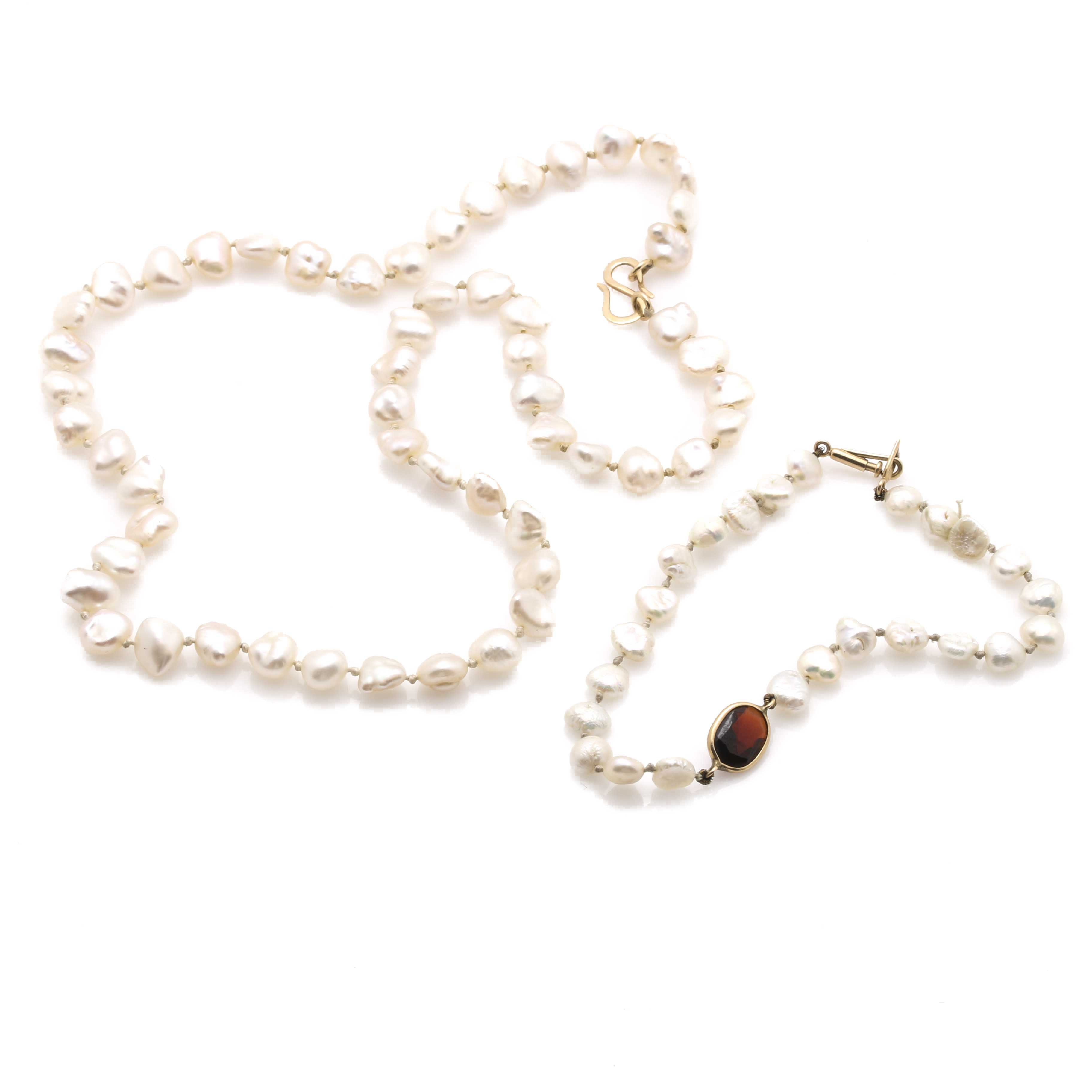 Freshwater Pearl Necklace and Bracelet With Garnet Accent and 14K Yellow Gold Findings