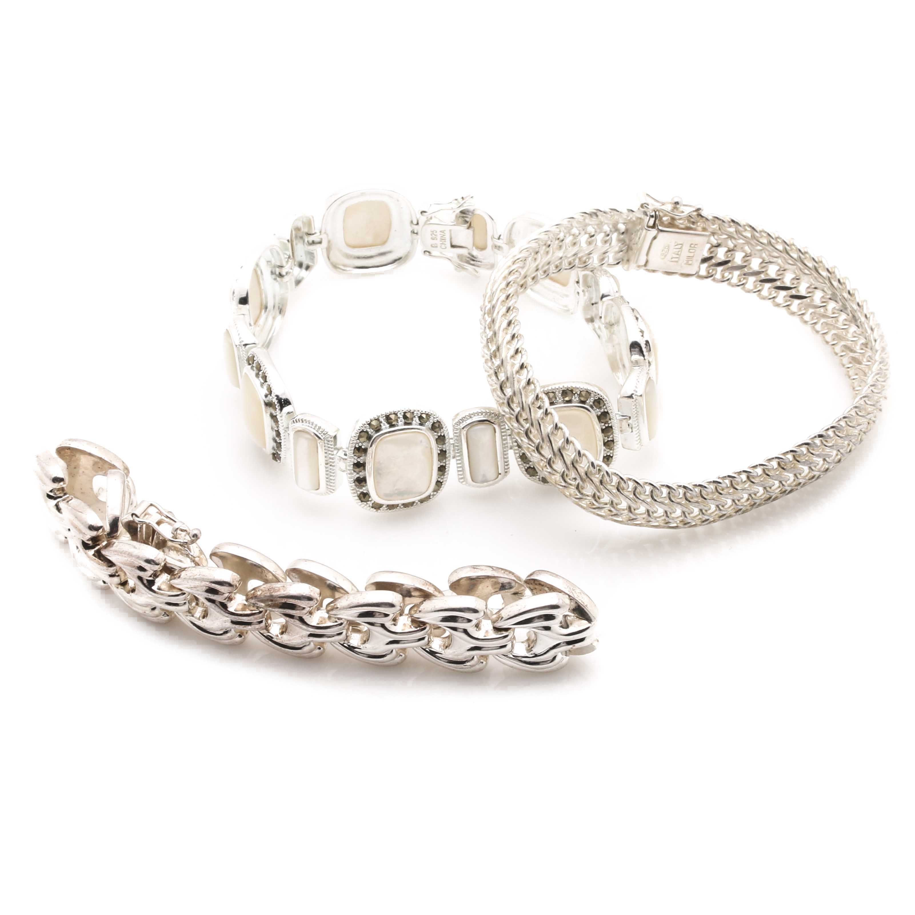 Sterling Silver Bracelets With Mother of Pearl and Marcasite