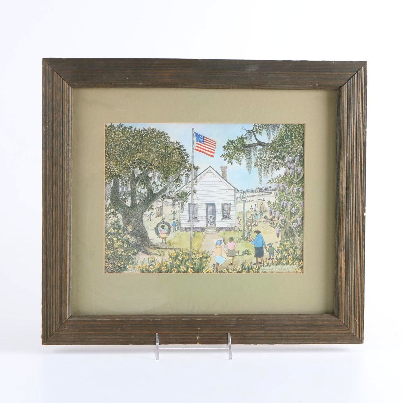After Samuel Ravenel Gaillard Limited Edition Offset Lithograph of Children Playing Around a Schoolhouse