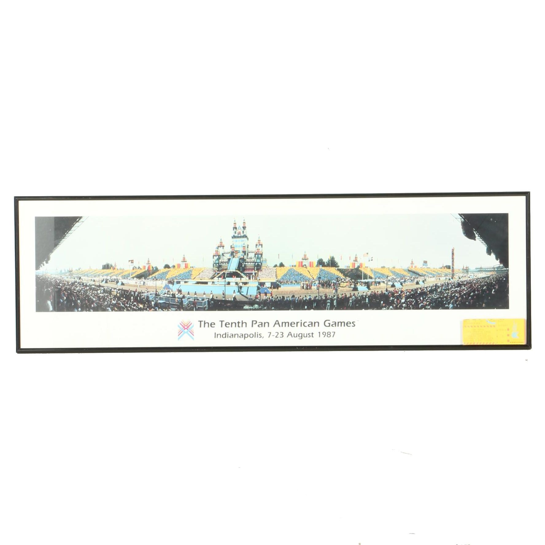 """Framed Offset Lithograph """"The Tenth Pan American Games"""" and a Ticket"""