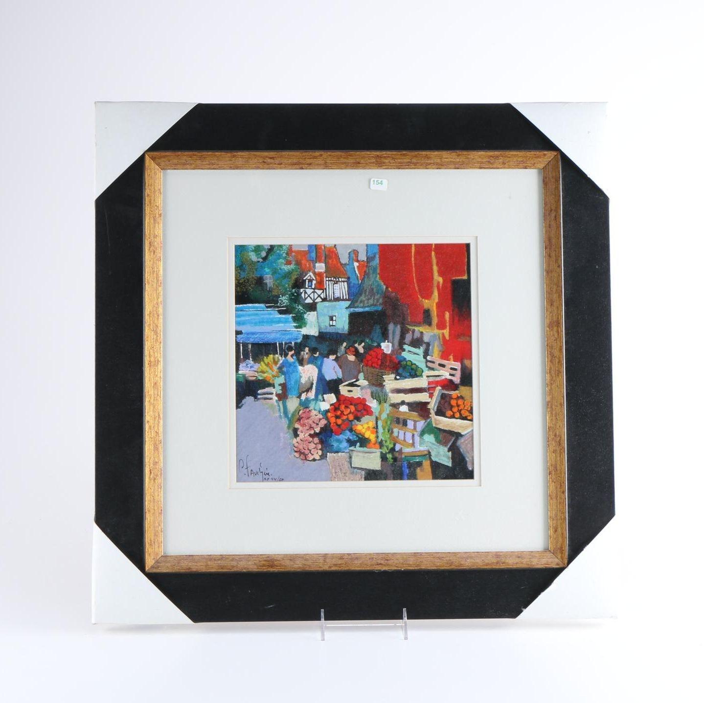 """Claude Fauchere Artist Proof Silkscreen """"A Market Scene II"""""""