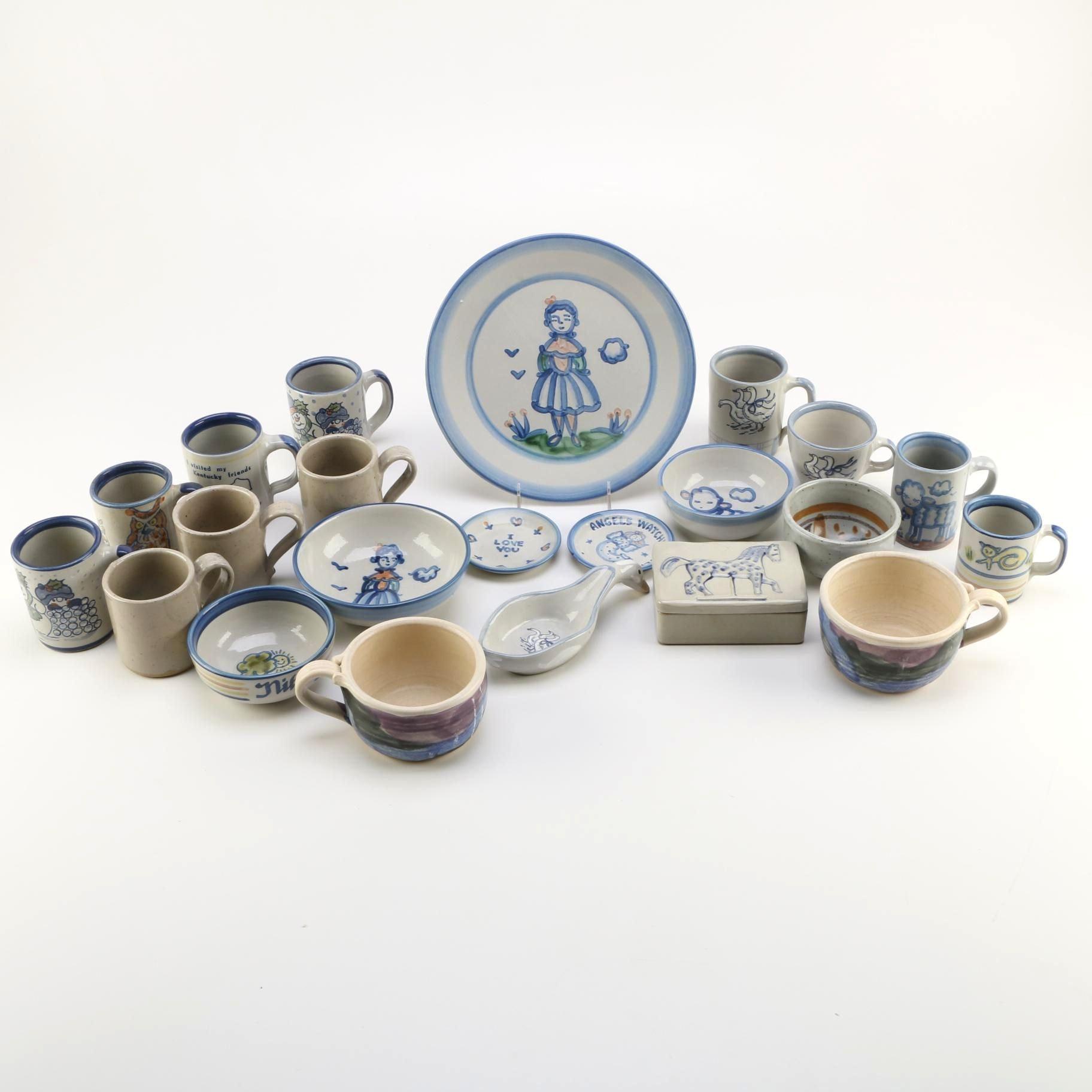 M. A. Hadley Louisville Stoneware Ceramic Mug and Dish Assortment