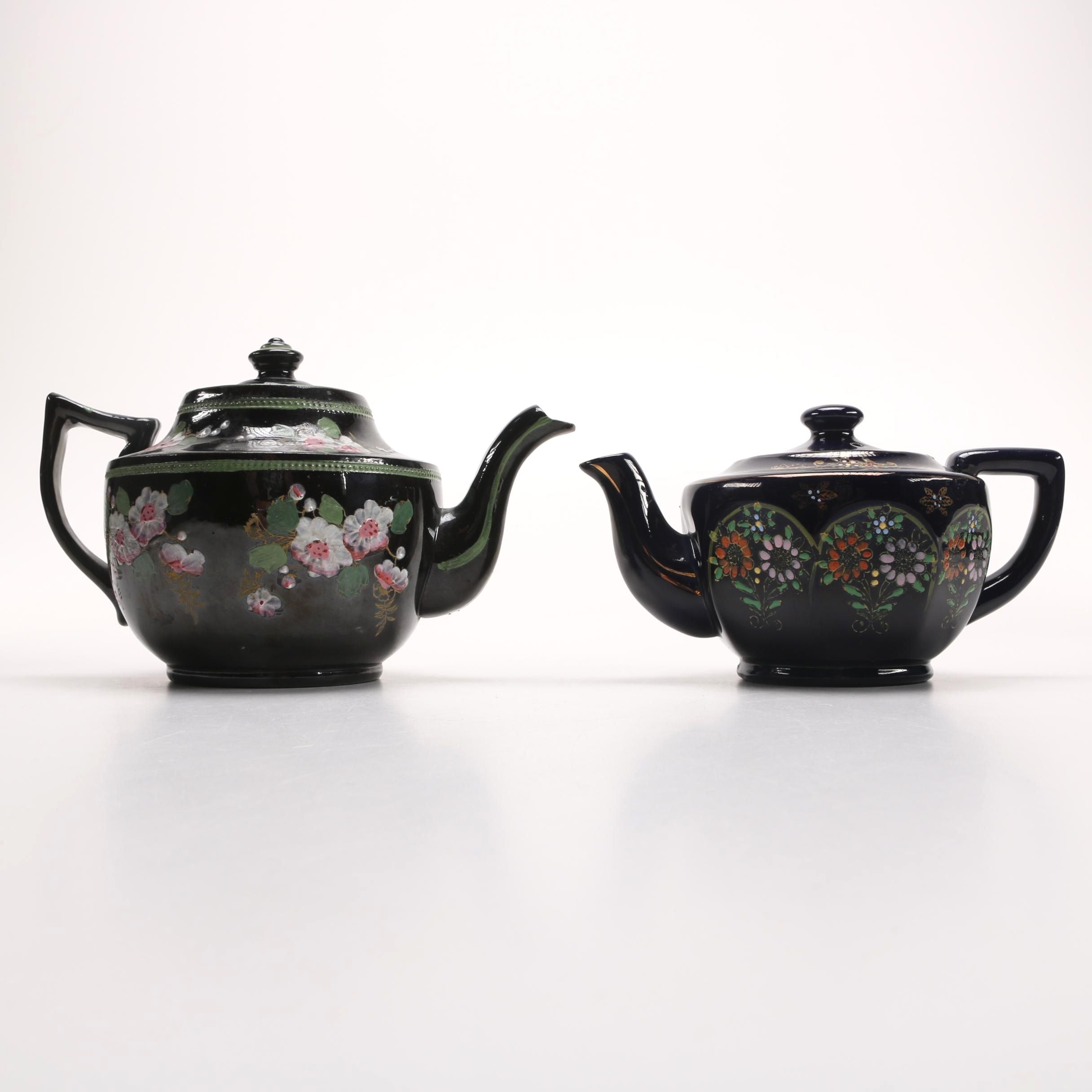 Hand-Painted Sadler and Japanese Porcelain Teapots
