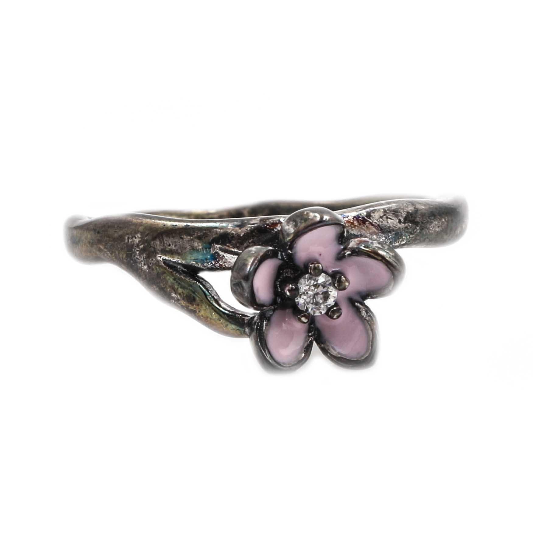 Sterling Silver Enameled Cherry Blossom Ring