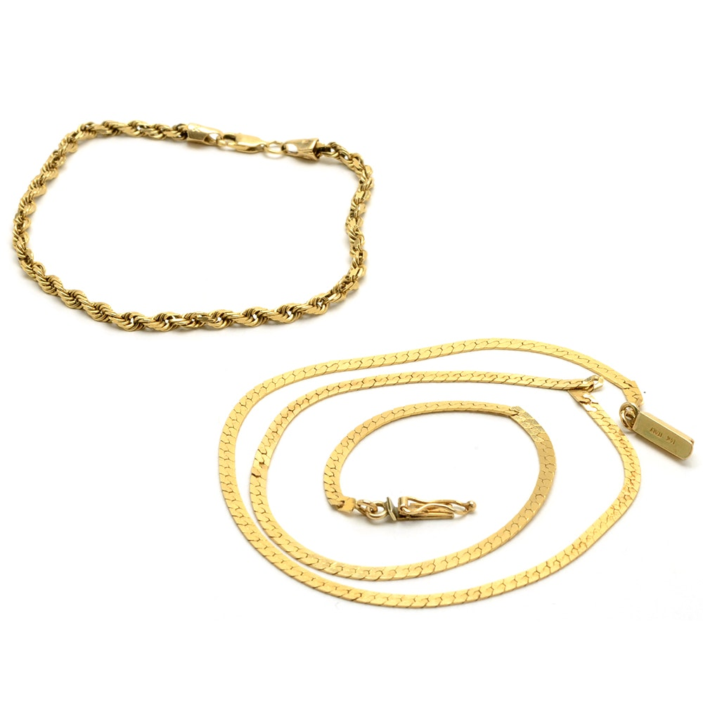 14K Yellow Gold Serpentine Necklace and Rope Chain Bracelet