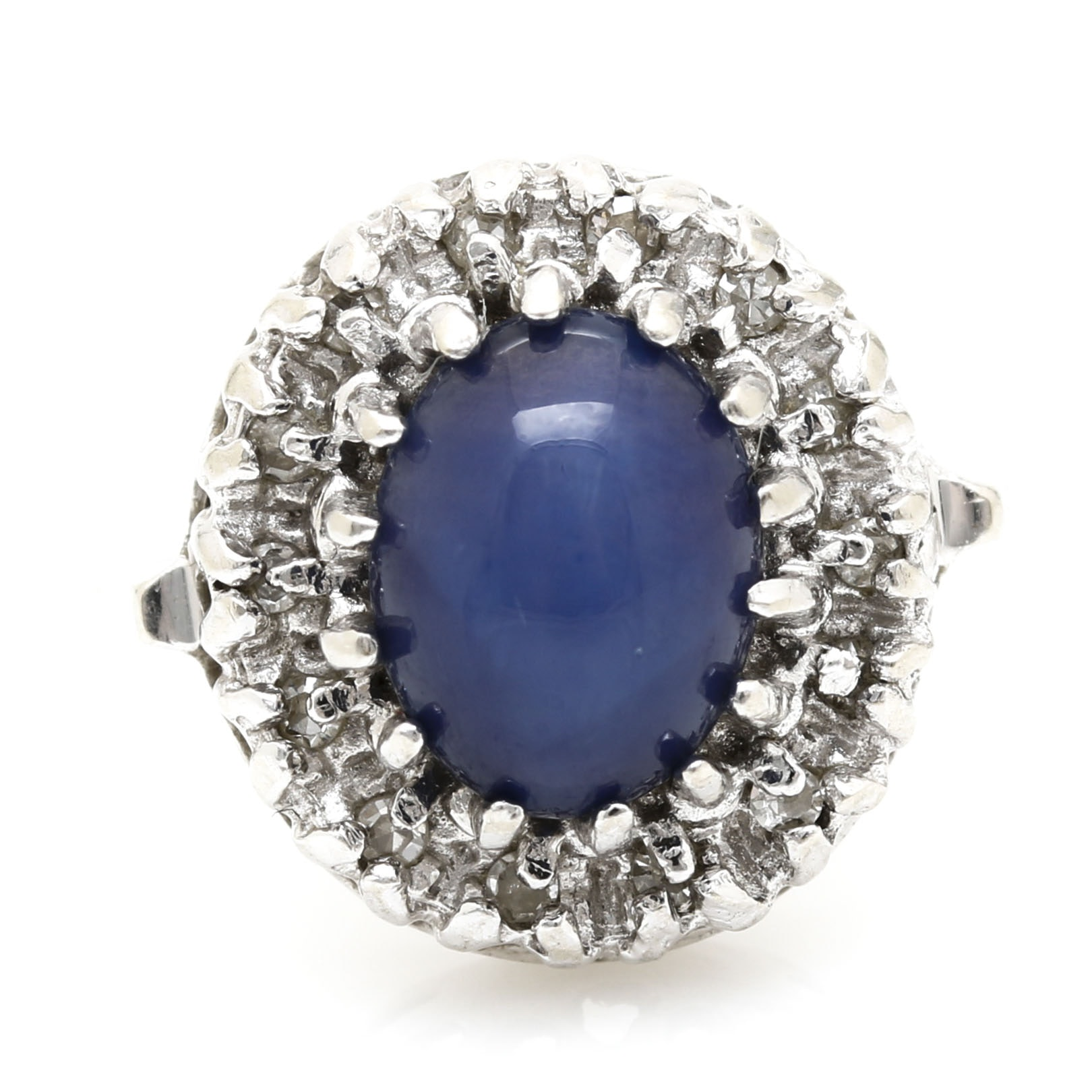 14K White Gold Star Sapphire and Diamond Ring