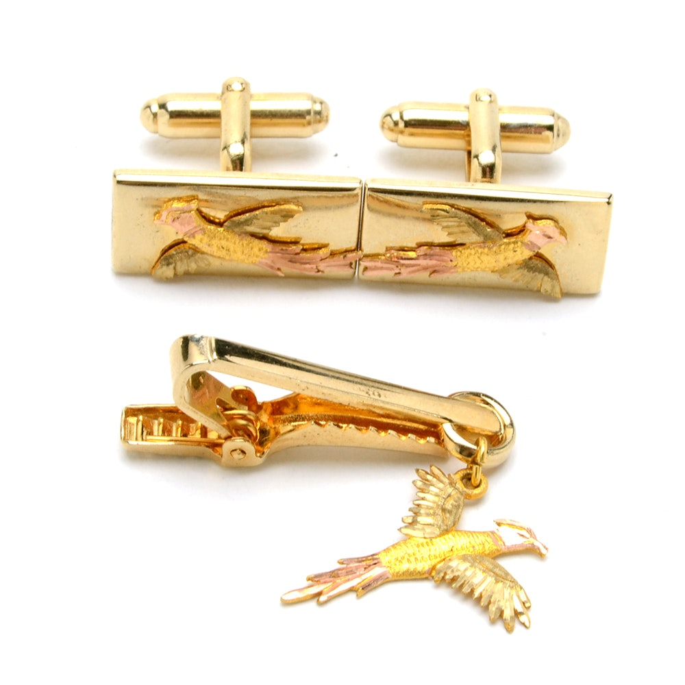 Vintage Anson Cufflinks and Tie Bar Clip with 10K Pheasant