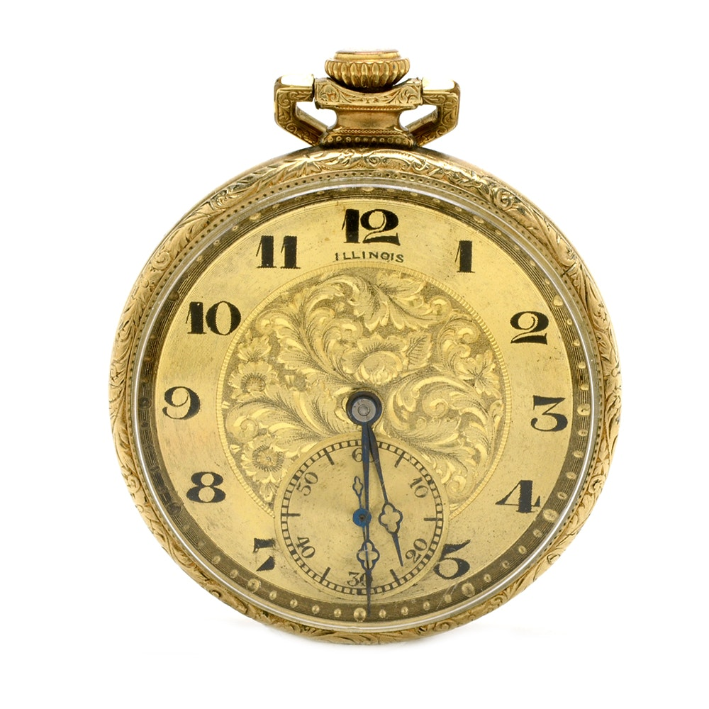 Illinois Gold Filled Open Faced Pocket Watch