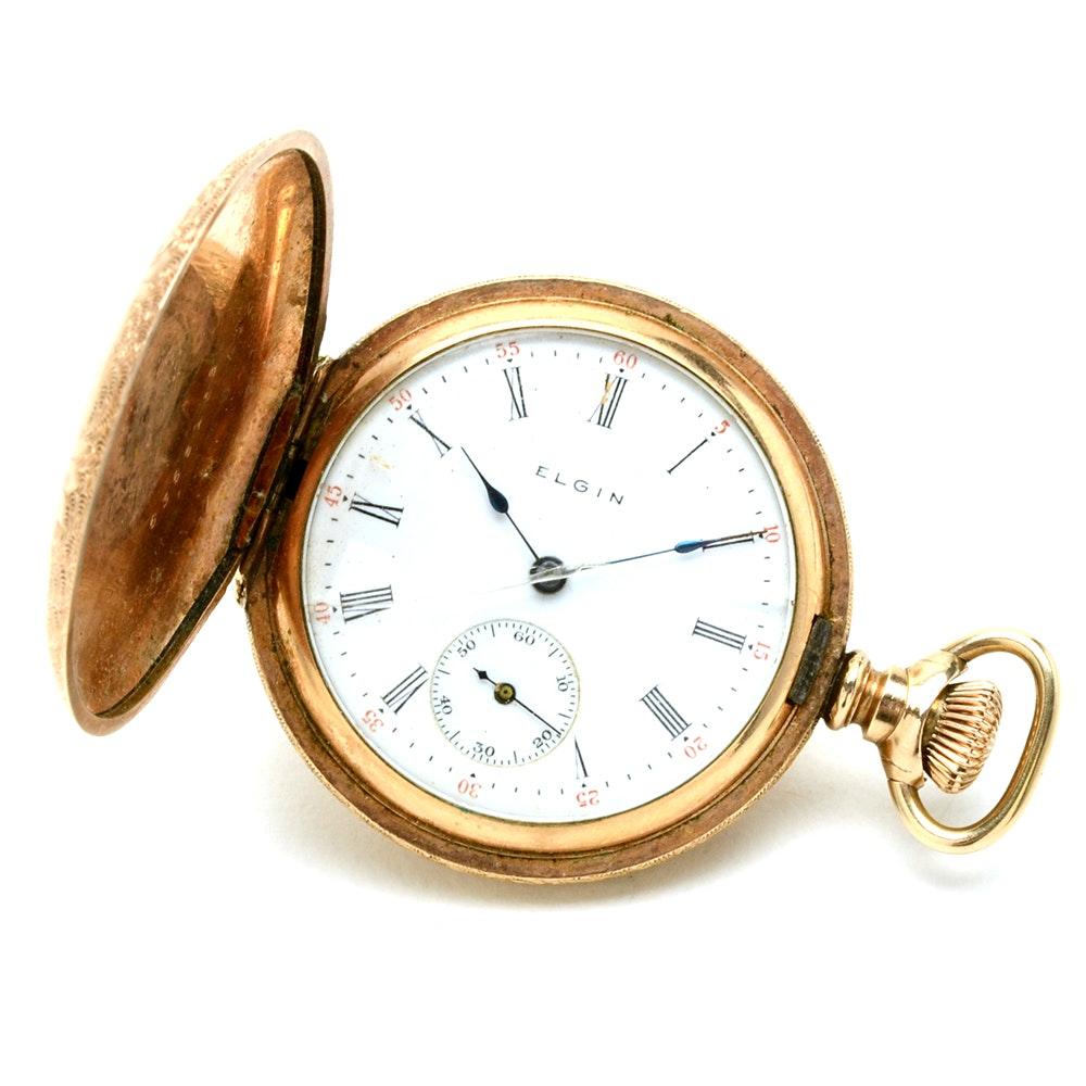 Antique Elgin Gold Filled Full Hunter Women's Pocket Watch
