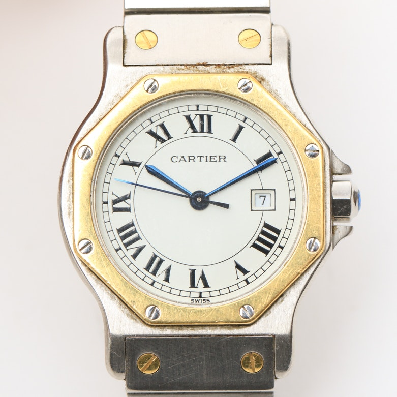 Cartier Santos 18K Yellow Gold and Stainless Steel Women's Wristwatch