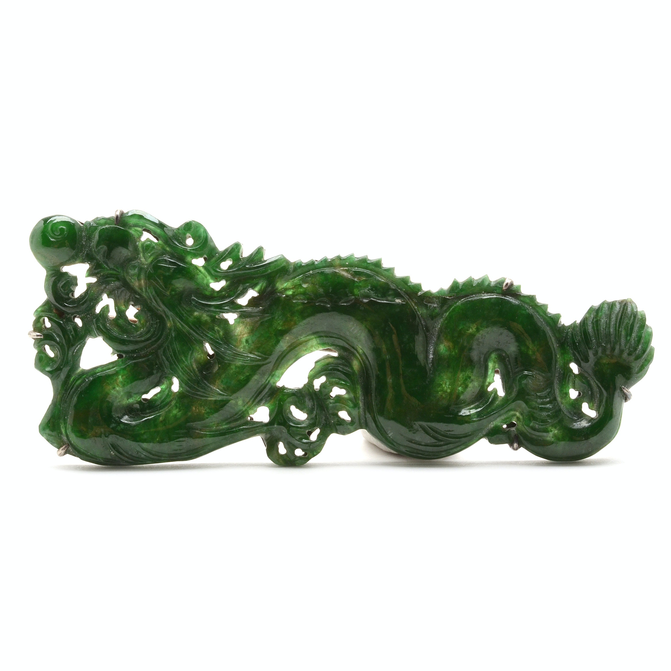 Chinese 900 Silver Carved Jadeite Dragon Brooch Pin