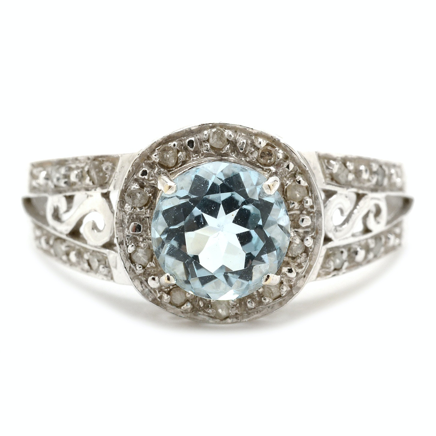 14K White Gold Blue Topaz Diamond Cocktail Ring