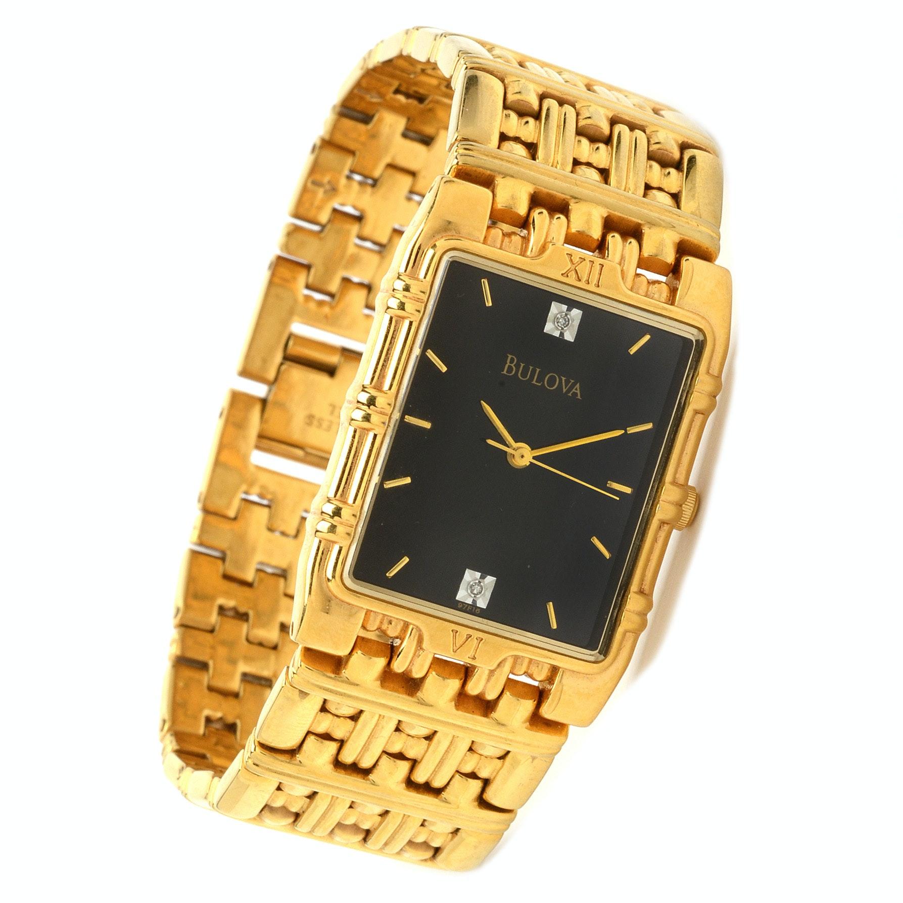 Bulova Diamond Black Dial Gold Stainless Steel Wristwatch