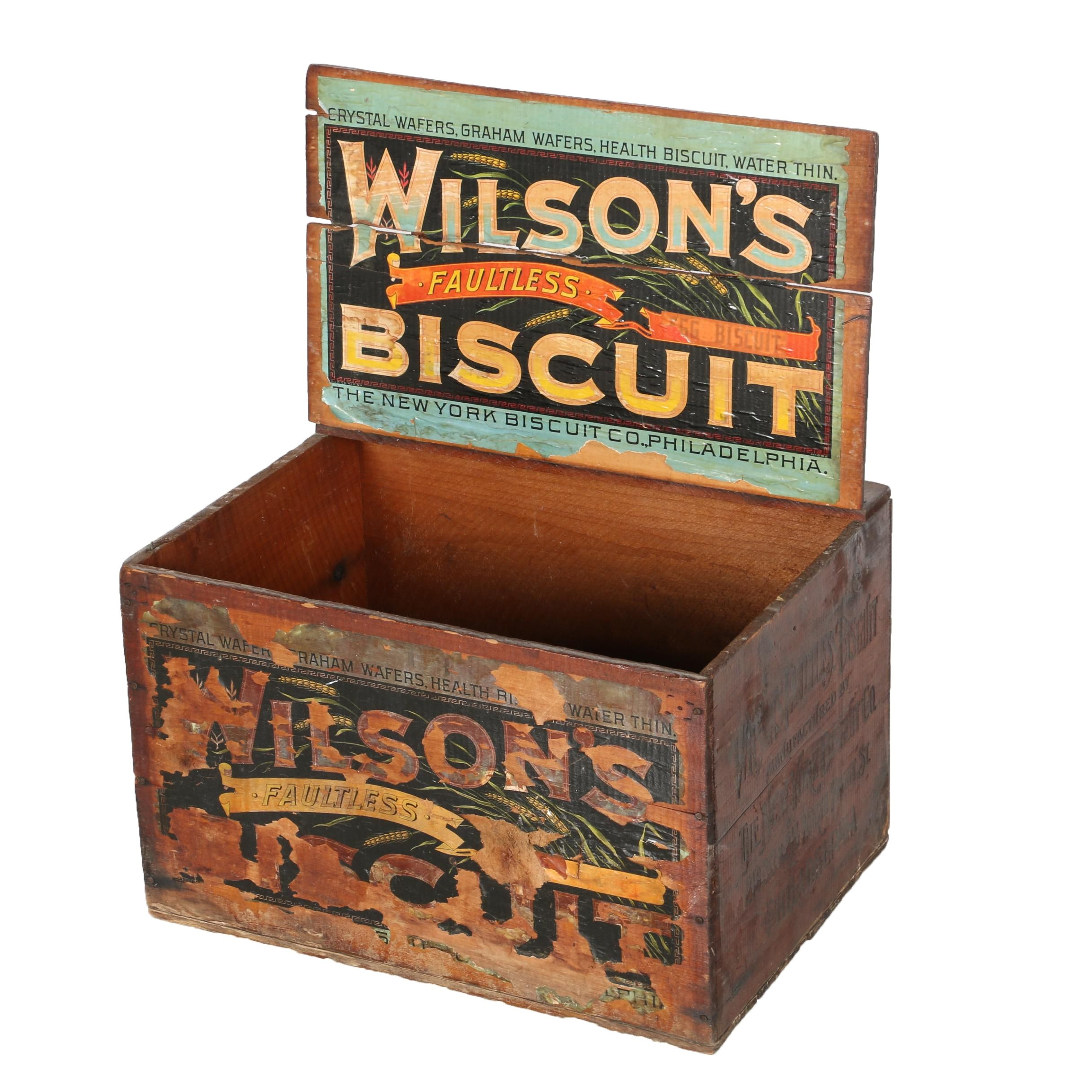"""Vintage Wood Crate for """"Wilson's Faultless"""" Biscuits"""