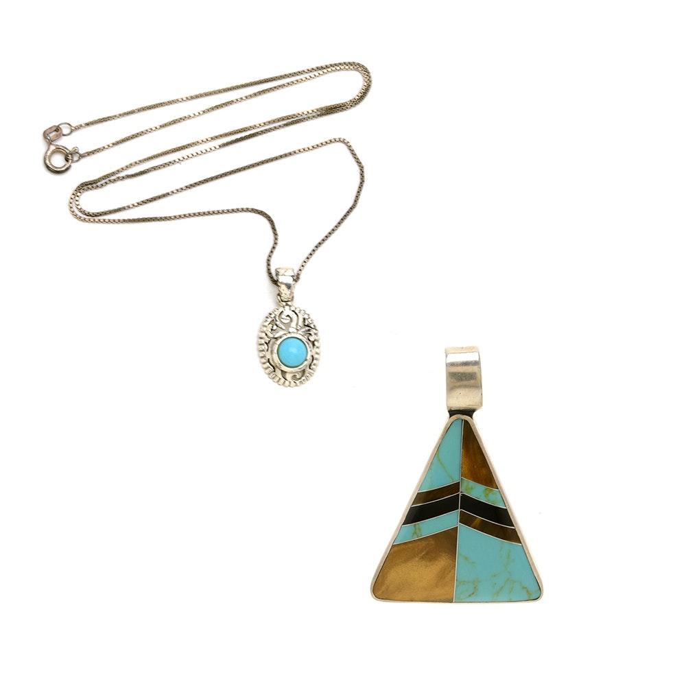 Sterling Silver Pendant Necklace and Modernist Triangular Slide