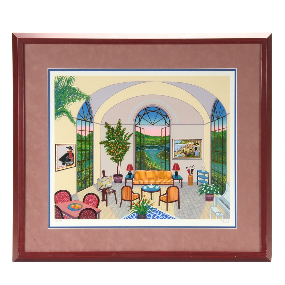 "Fanch Ledan Artist's Proof Serigraph ""Interior with Seurat"""