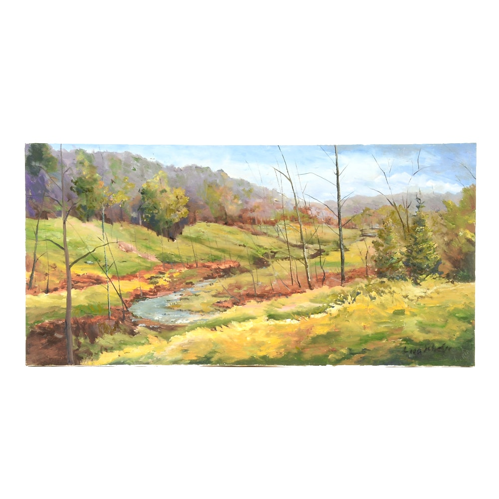"Lisa Schafer Oil Painting on Canvas ""Valley in Rising Sun"""