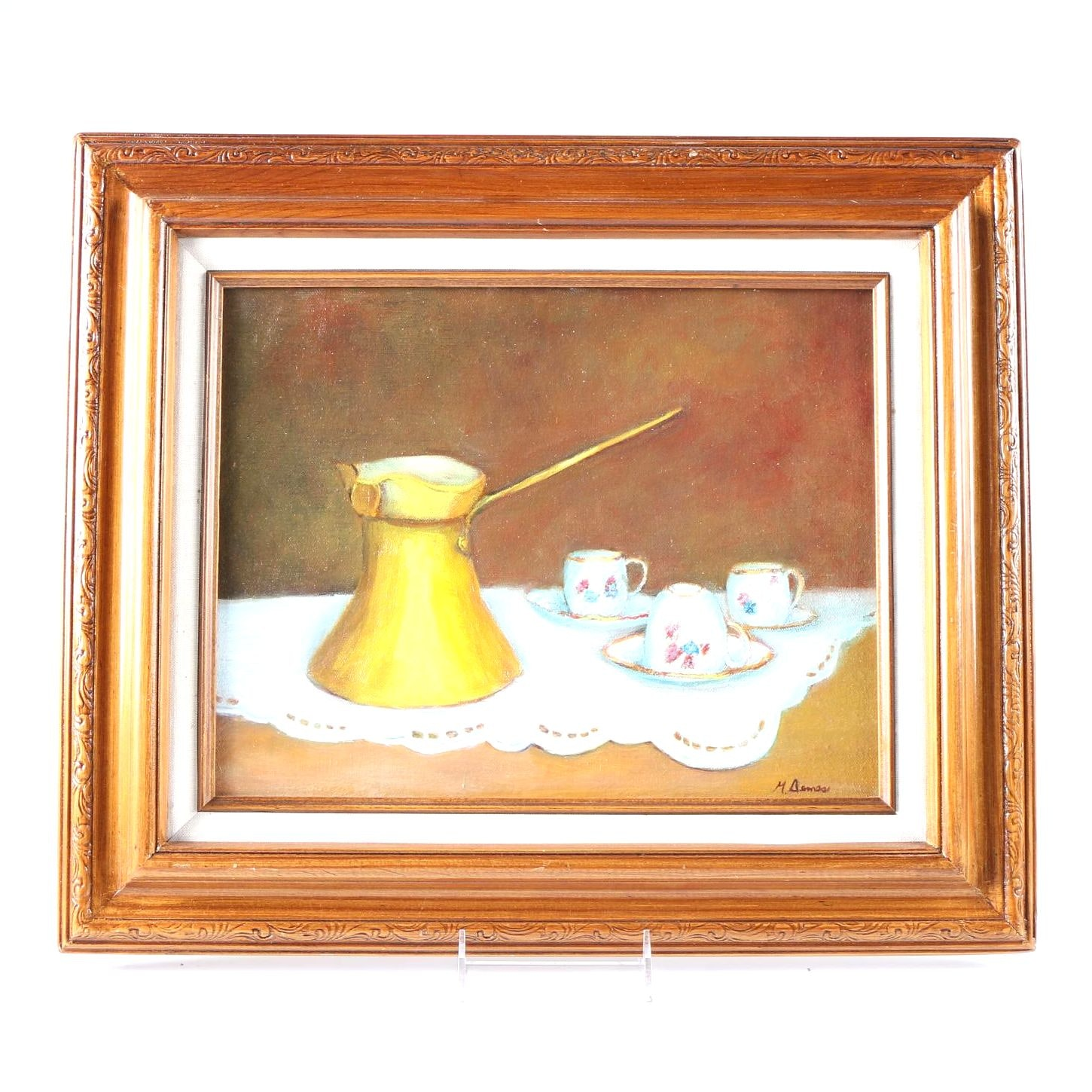M. Aemes Oil Painting of Turkish Coffee Still Life