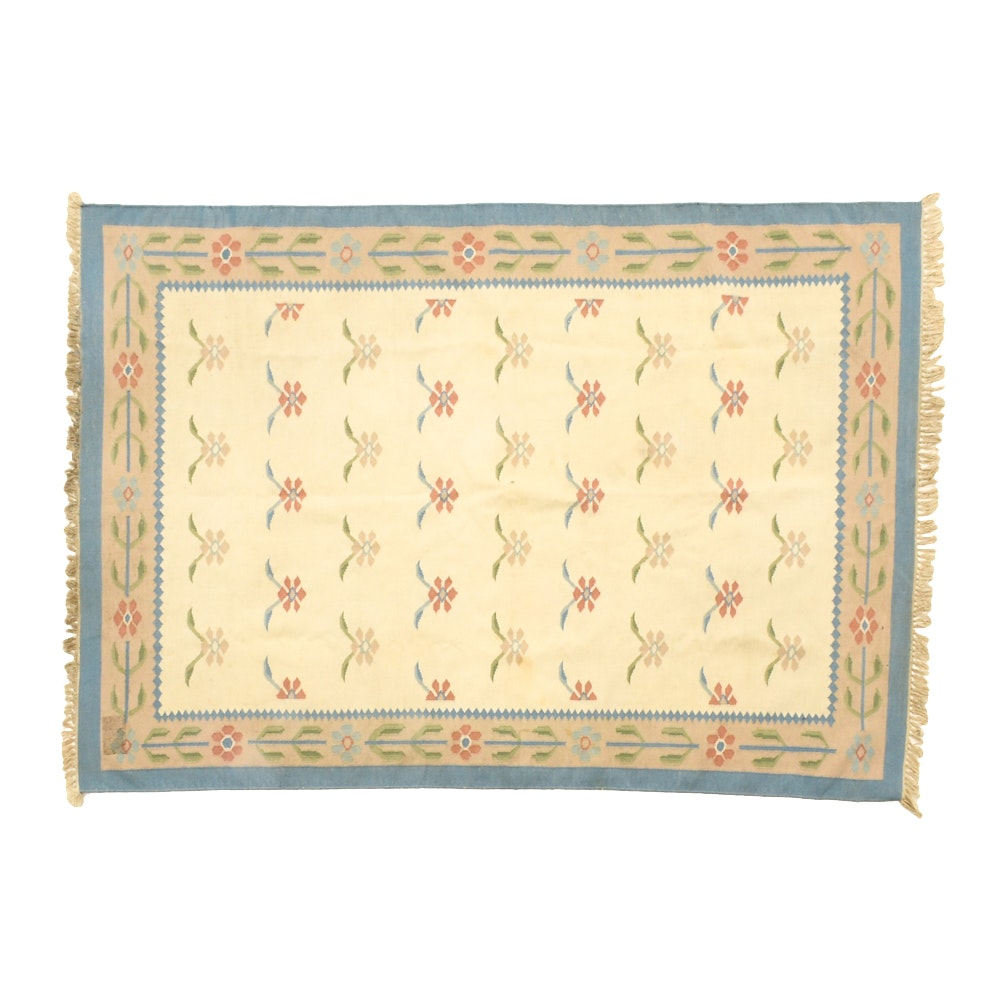 Handwoven Flat Weave Wool Floral Area Rug