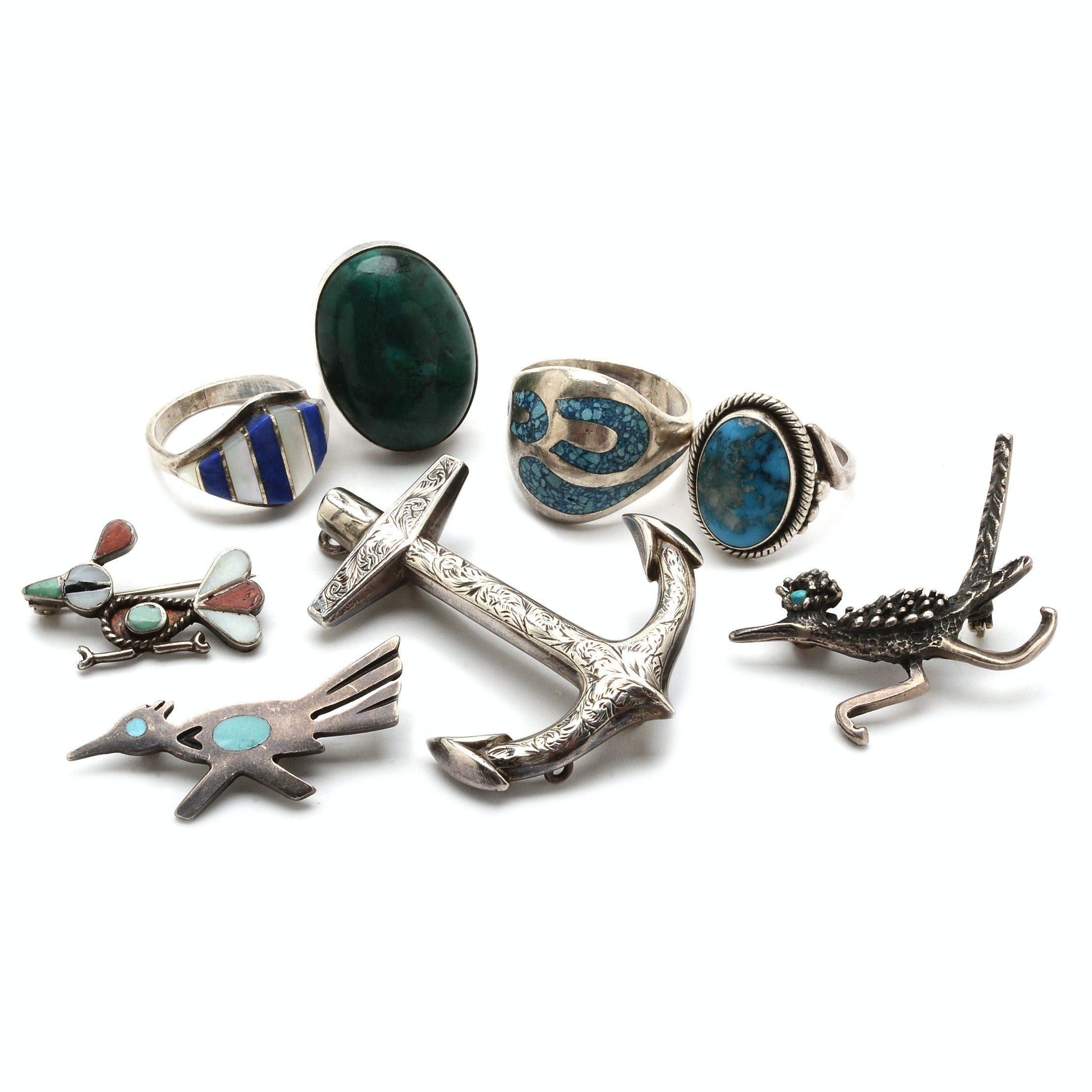 Sterling Jewelry Collection Including Roadrunner Brooches
