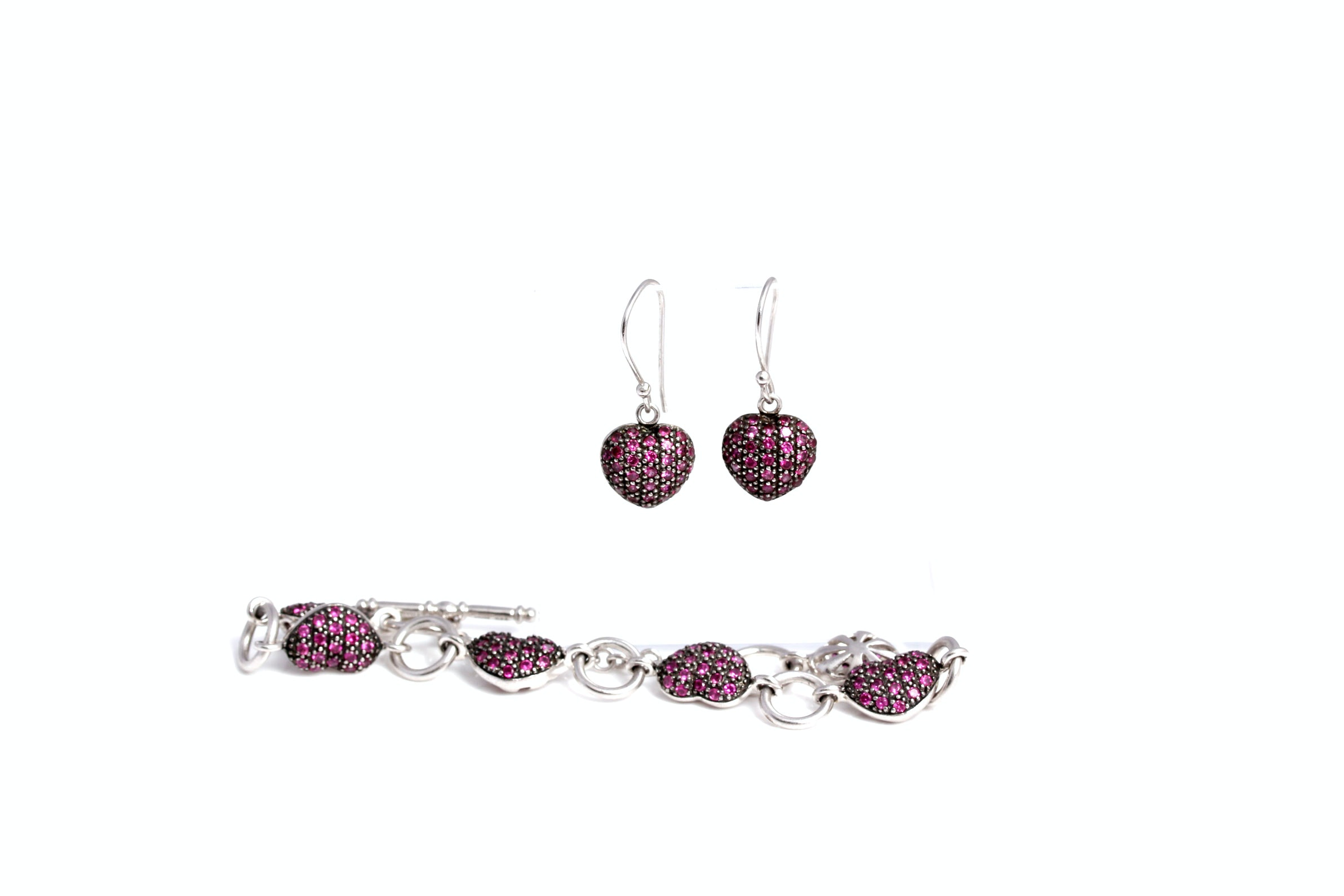 Sterling and Synthetic Ruby Bracelet and Earring Set