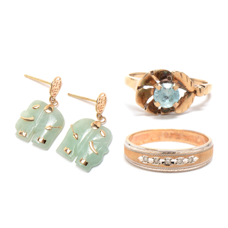 10K Yellow Gold Jewelry With Diamonds, Jadeite and Blue Zircon