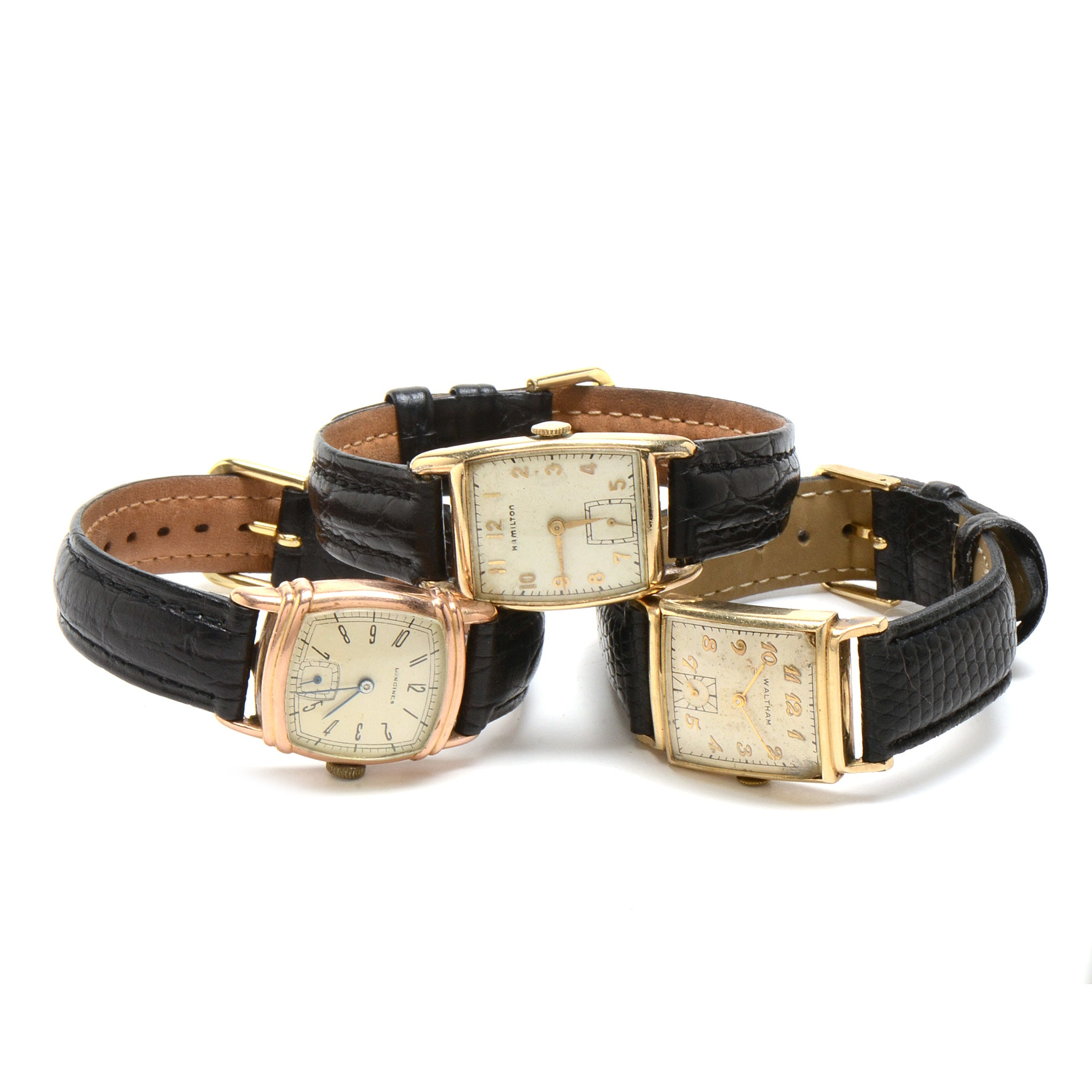 Assortment of Three Vintage Gold Filled Wristwatches