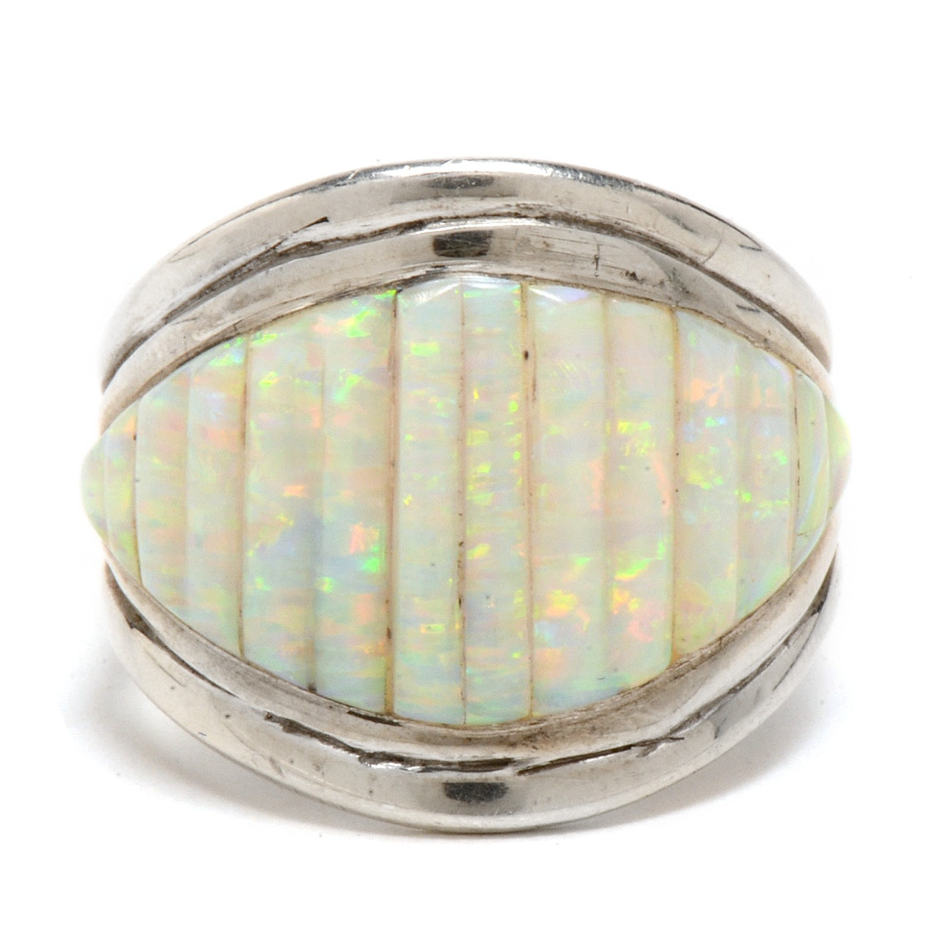Sterling Silver Carved Synthetic Opal Men's Ring