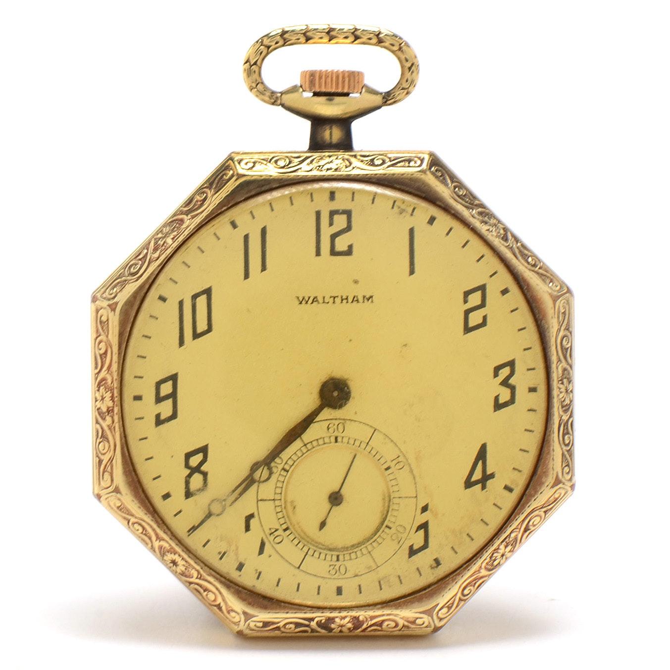 1919 Gold Filled Open Faced Waltham Hexagonal Pocket Watch