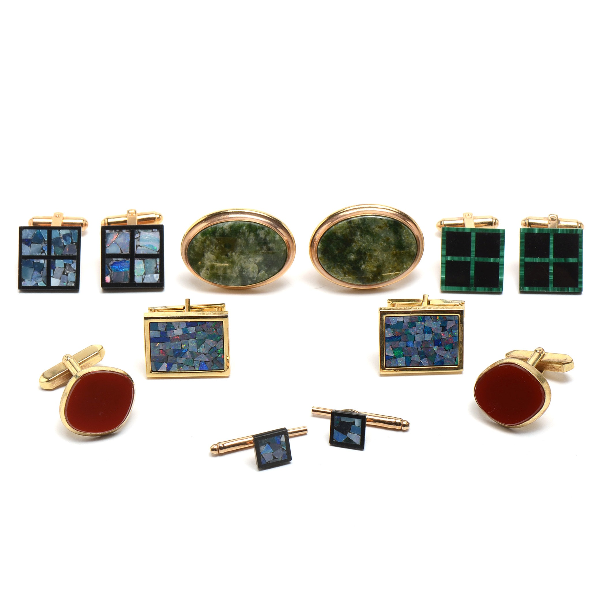 Gold Tone Cufflinks and a Pair of Shirt Studs
