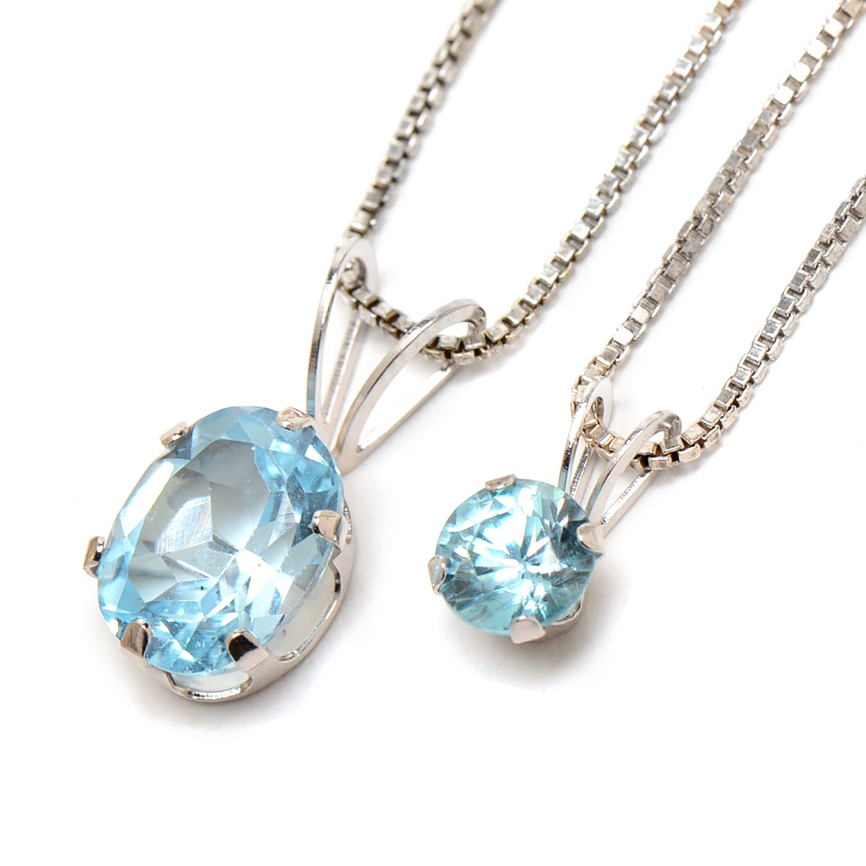 14K White Gold Sterling Silver Blue Topaz Necklaces