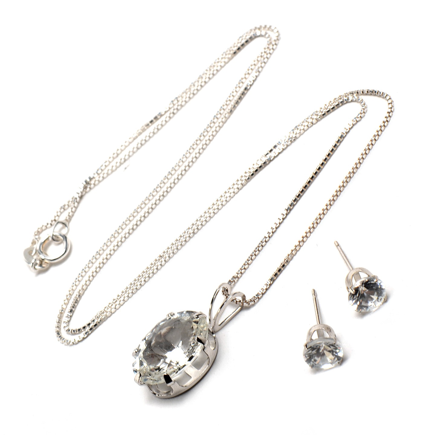 14K White Gold and Sterling Silver Topaz Necklace and Earrings