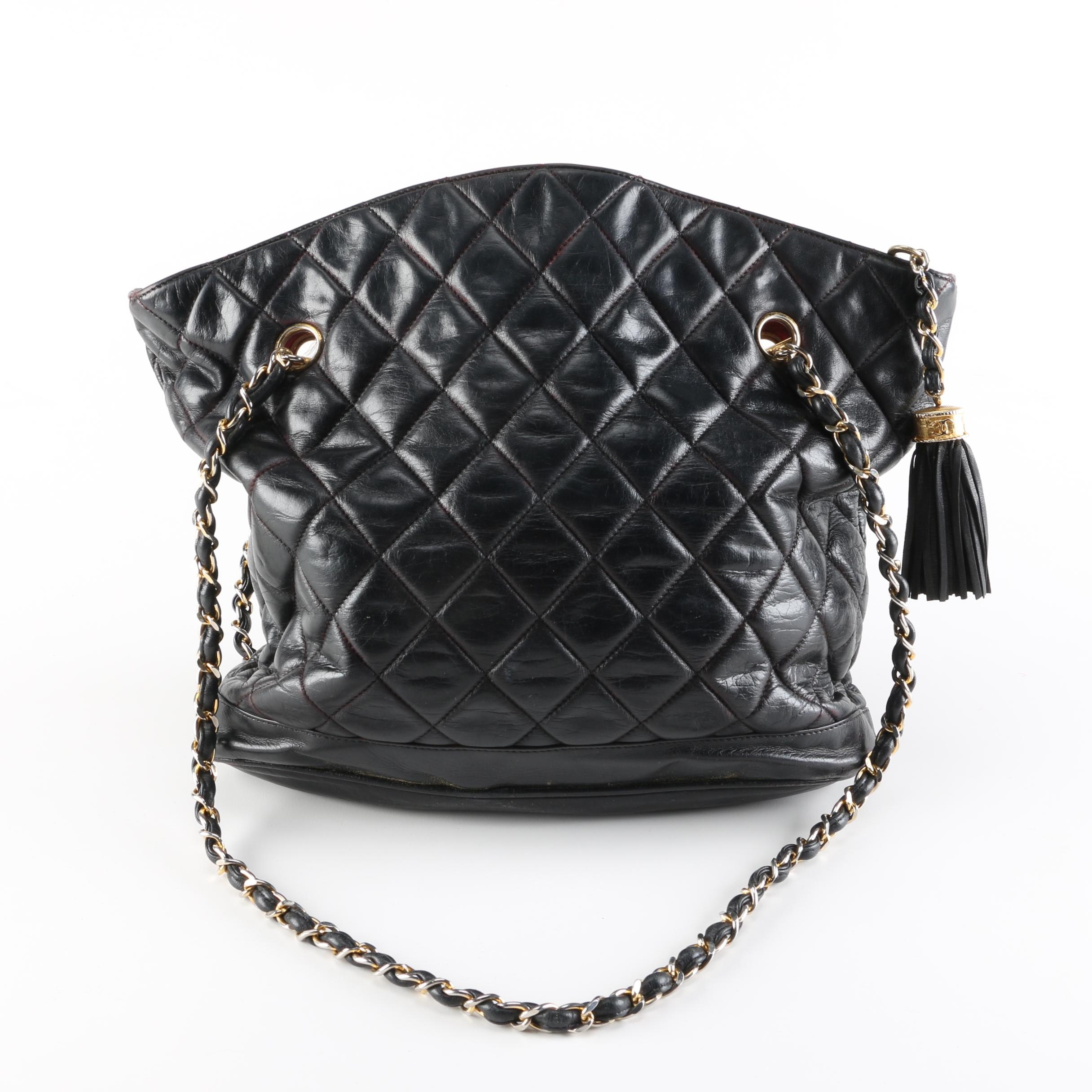 Vintage Chanel Black Leather Quilted Handbag