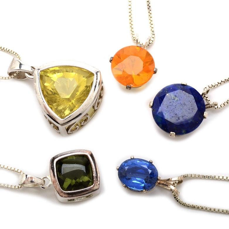 Sterling Silver Semi Precious Stone Necklaces