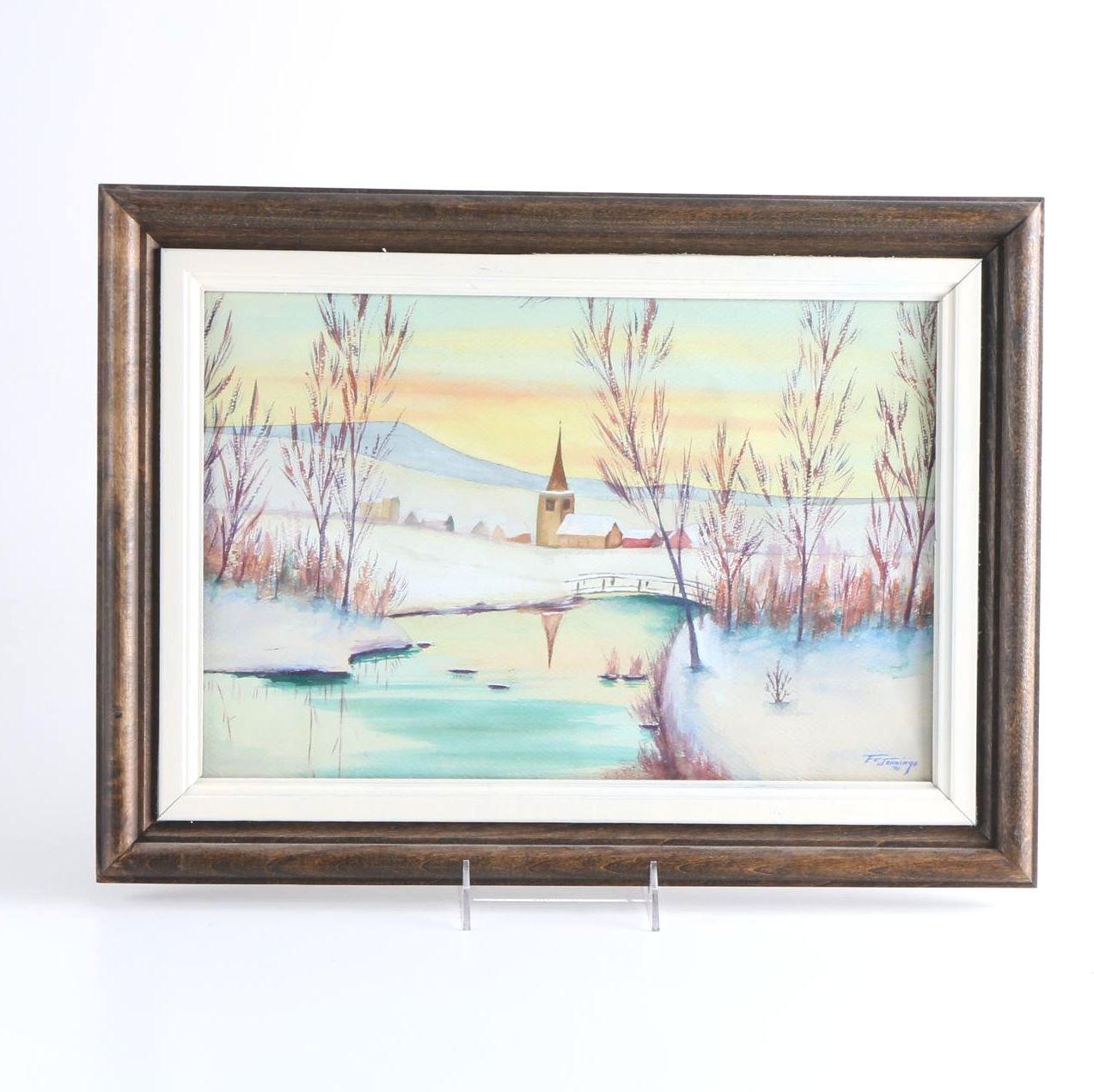 F. E. Jennings Watercolor on Paper of a Winter Scene