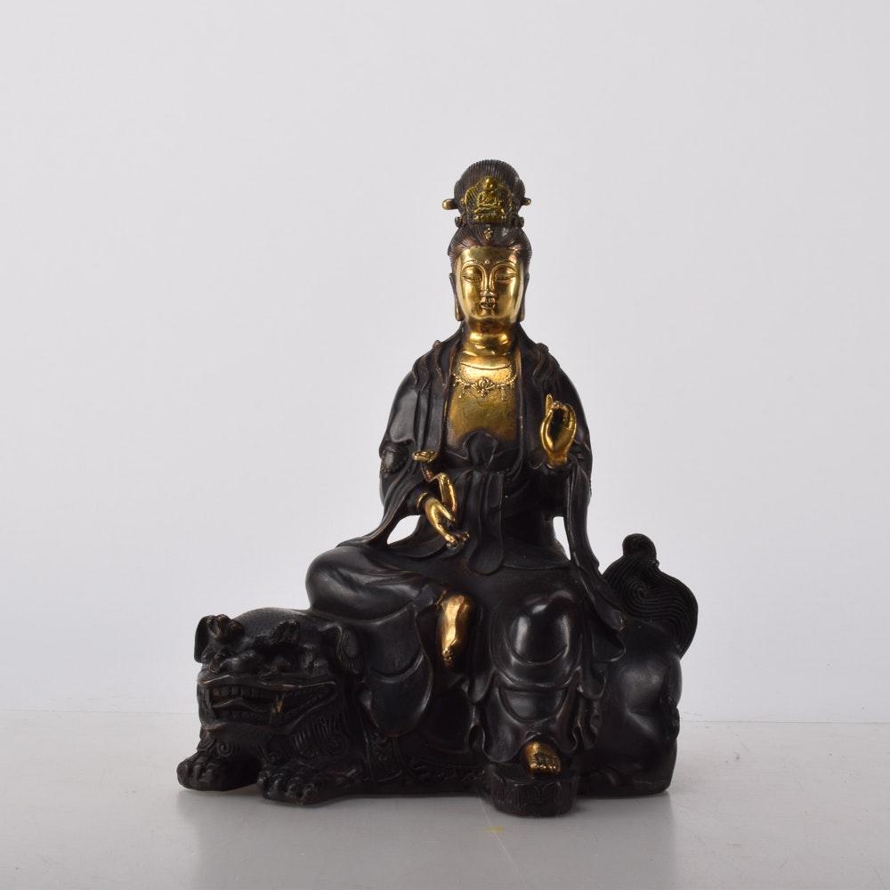 Chinese Brass Guanyin Figurine