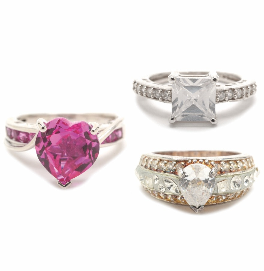 Three Sterling Silver Fashion Rings with Synthetic Pink Sapphire